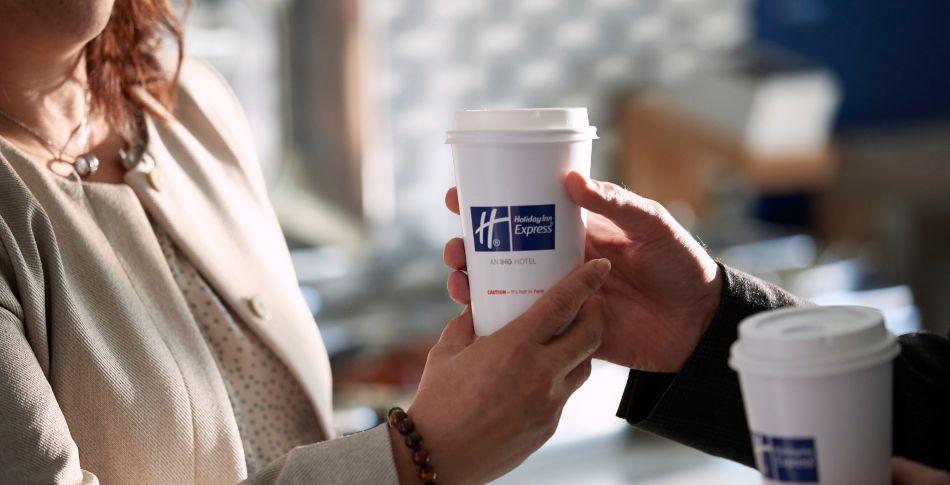 Woman getting coffe