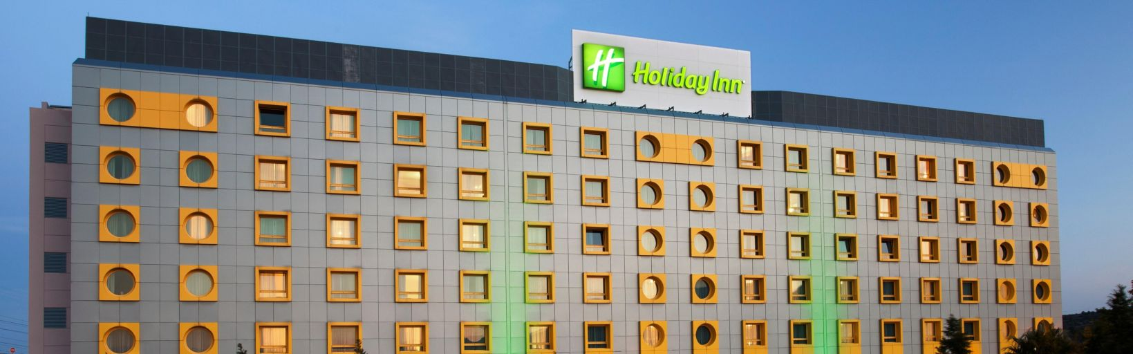 Hotel Exterior Lights On At Holiday Inn Athens Attica Av Airport W