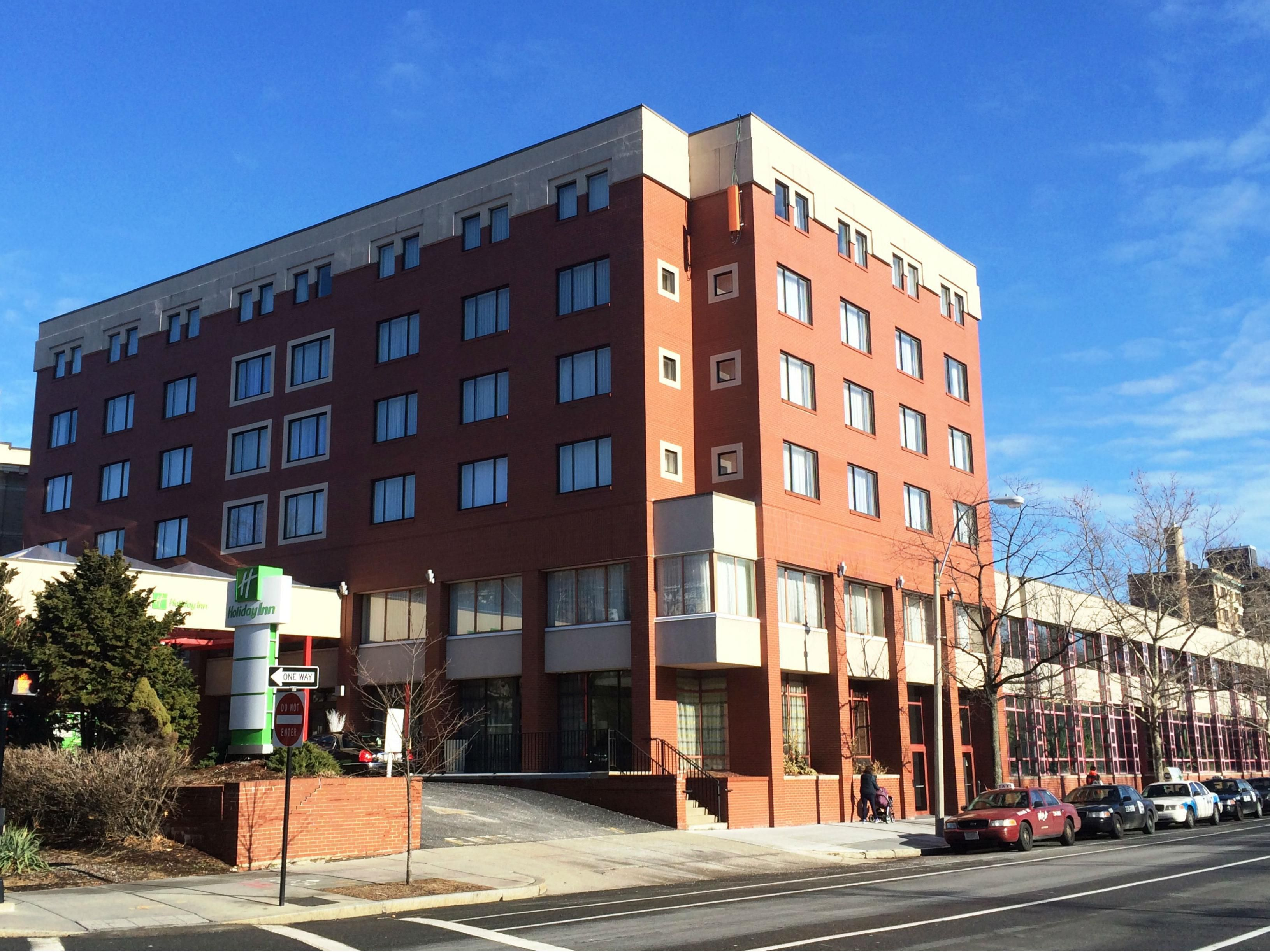 Exterior view of hotel located on the Green Line of the T (MBTA)