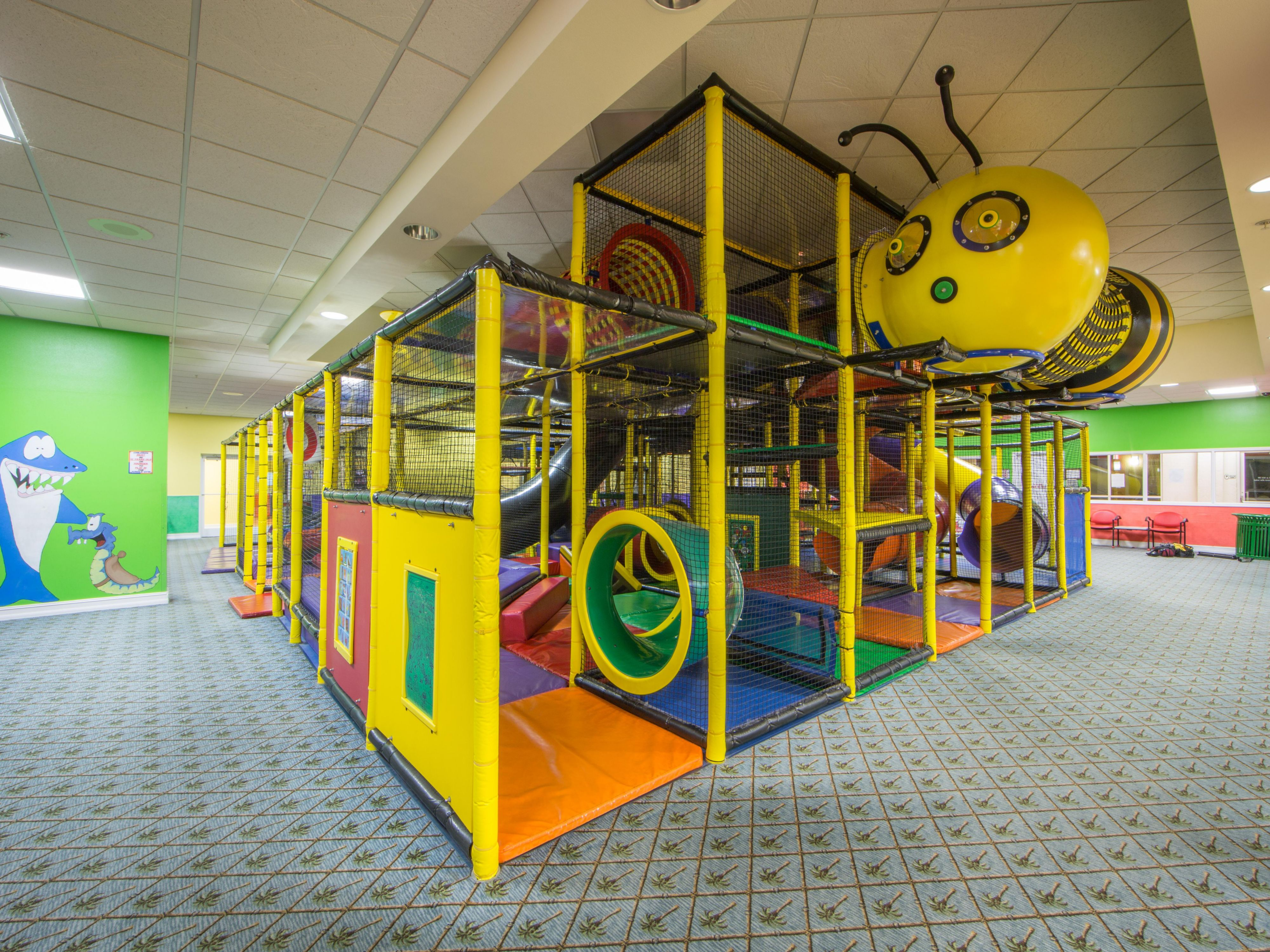 Children can play indoors in the activity room at the resort