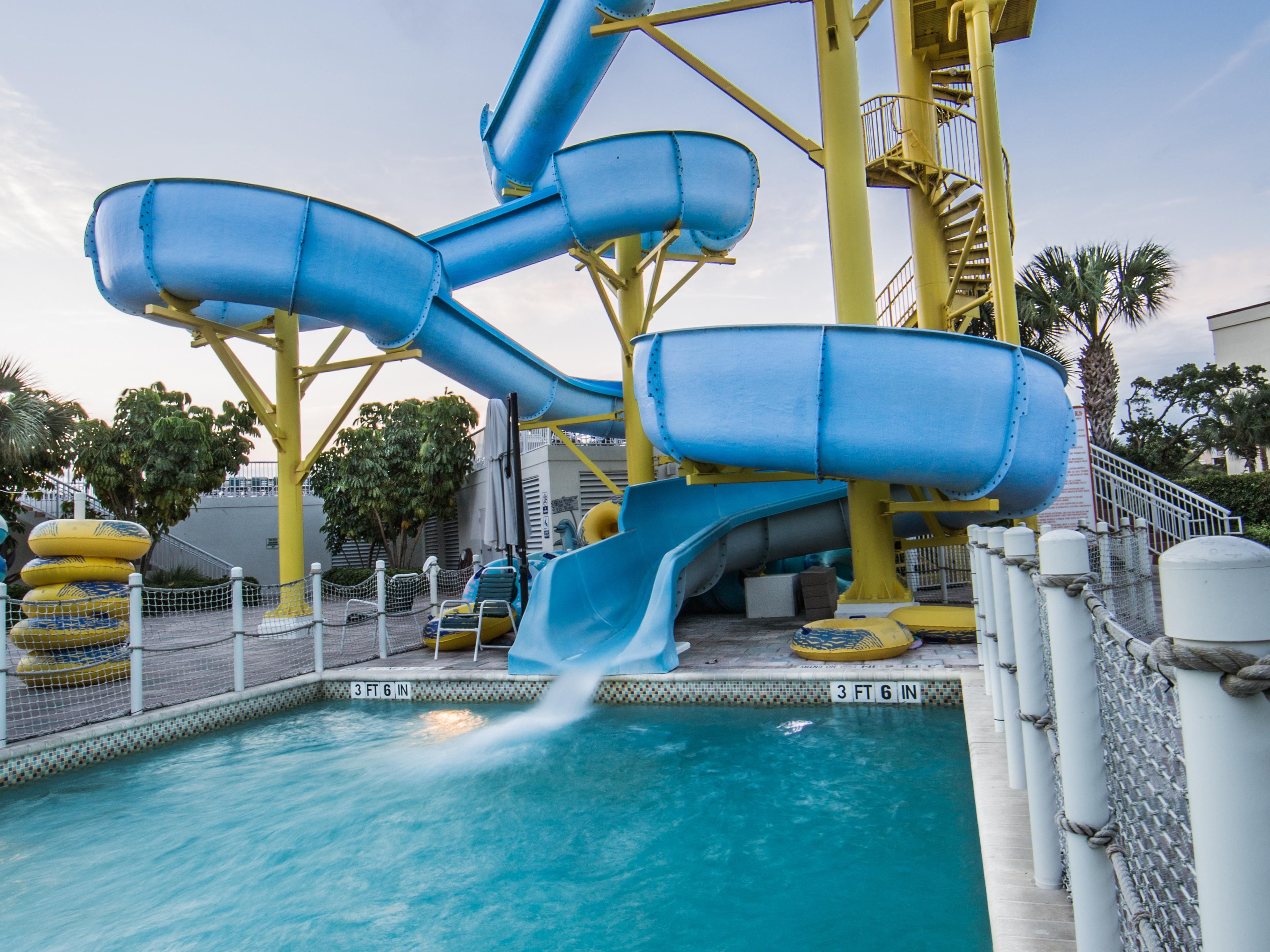 Enjoy racing down the 4-story waterslide at the resort