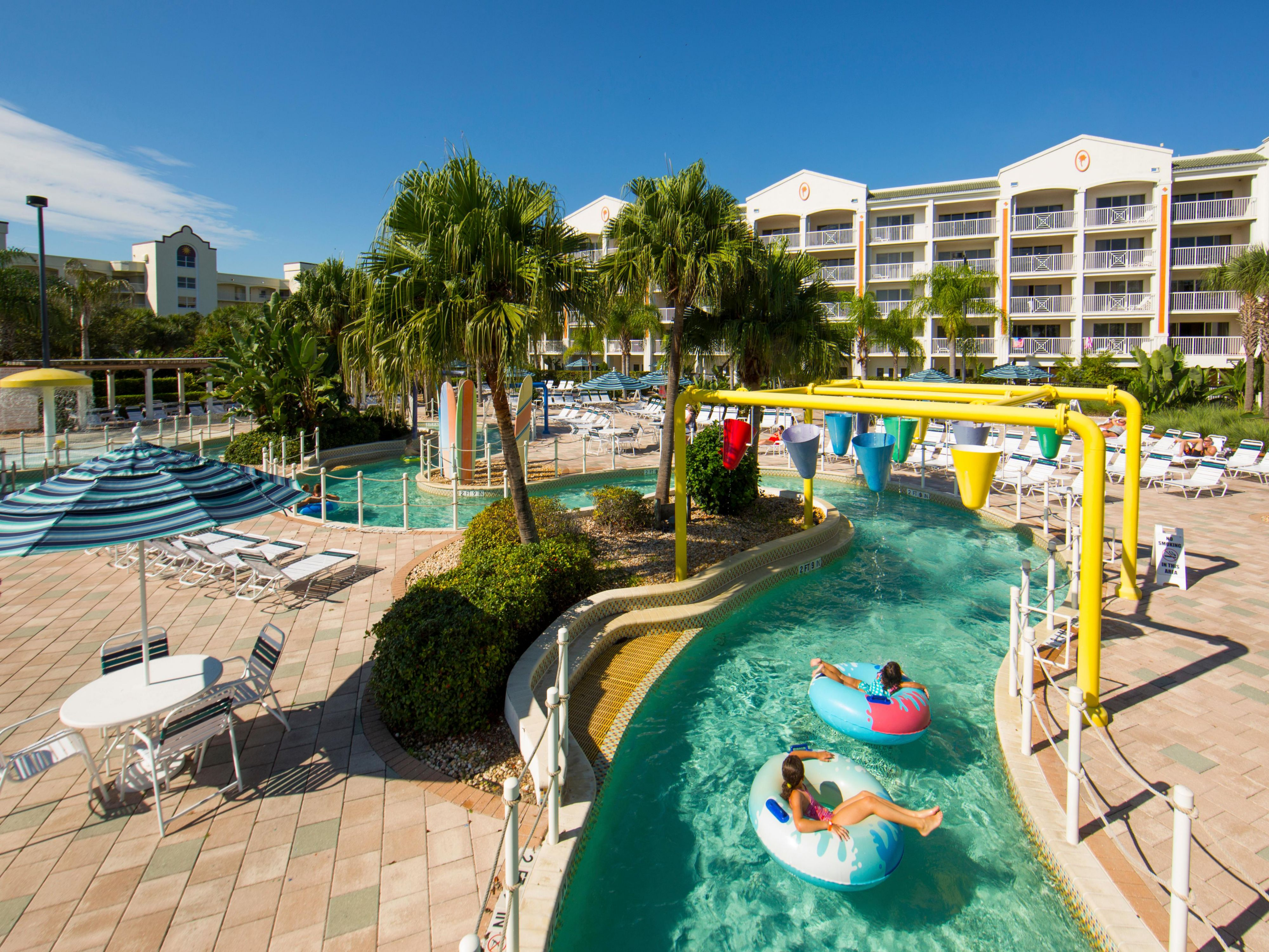 Float your way down the lazy river and relax in the warm sun