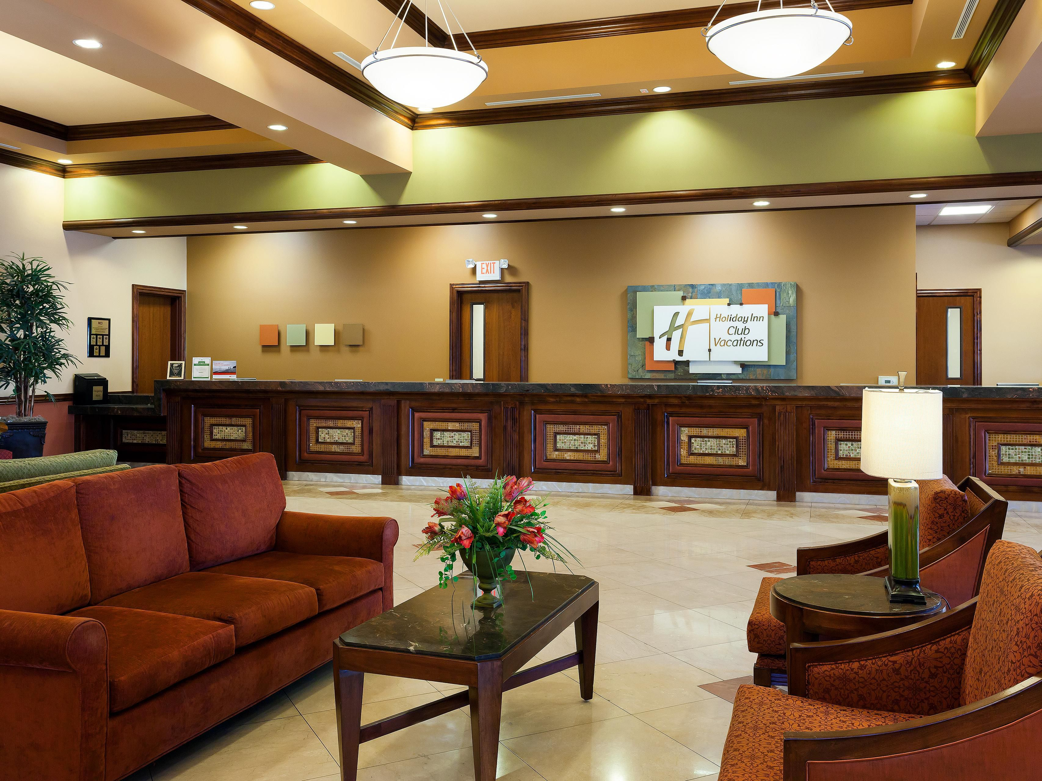 Lobby where guests check-in to the resort