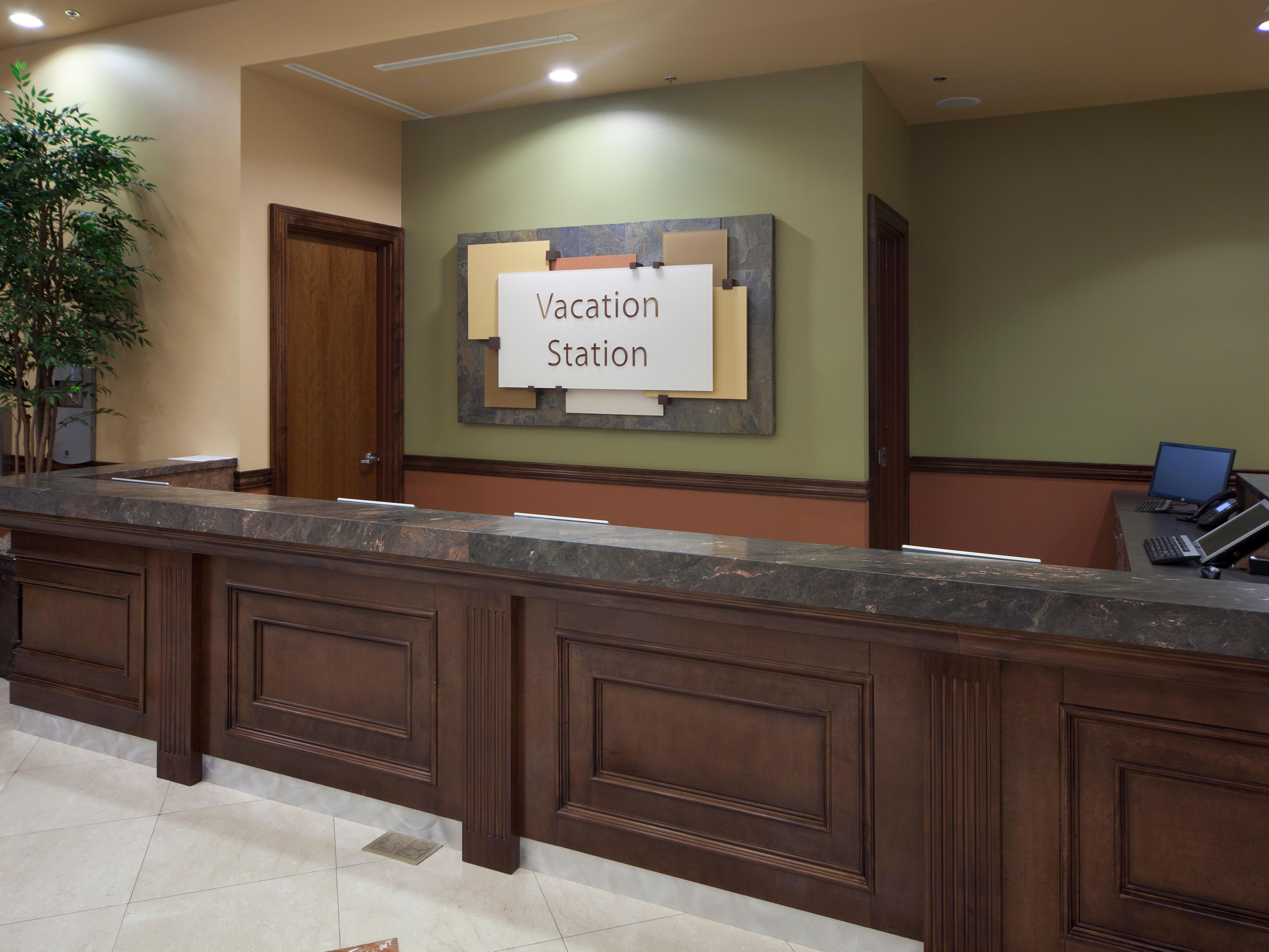 Front desk for guest check-in located in the lobby