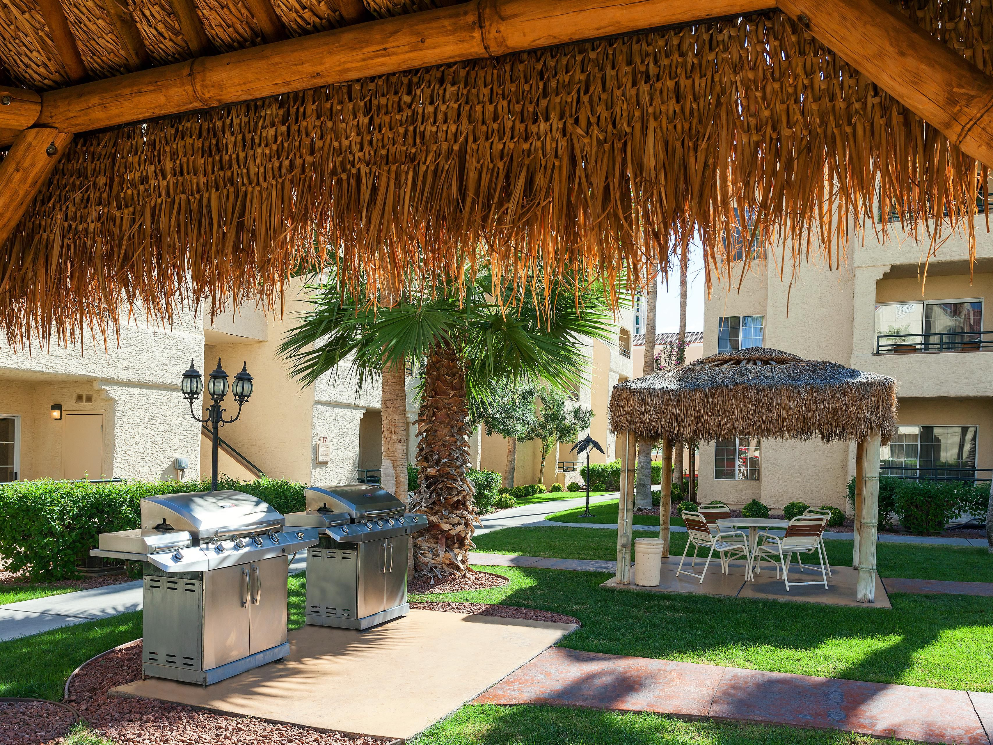 Outdoor grills and gazebos for guests to enjoy