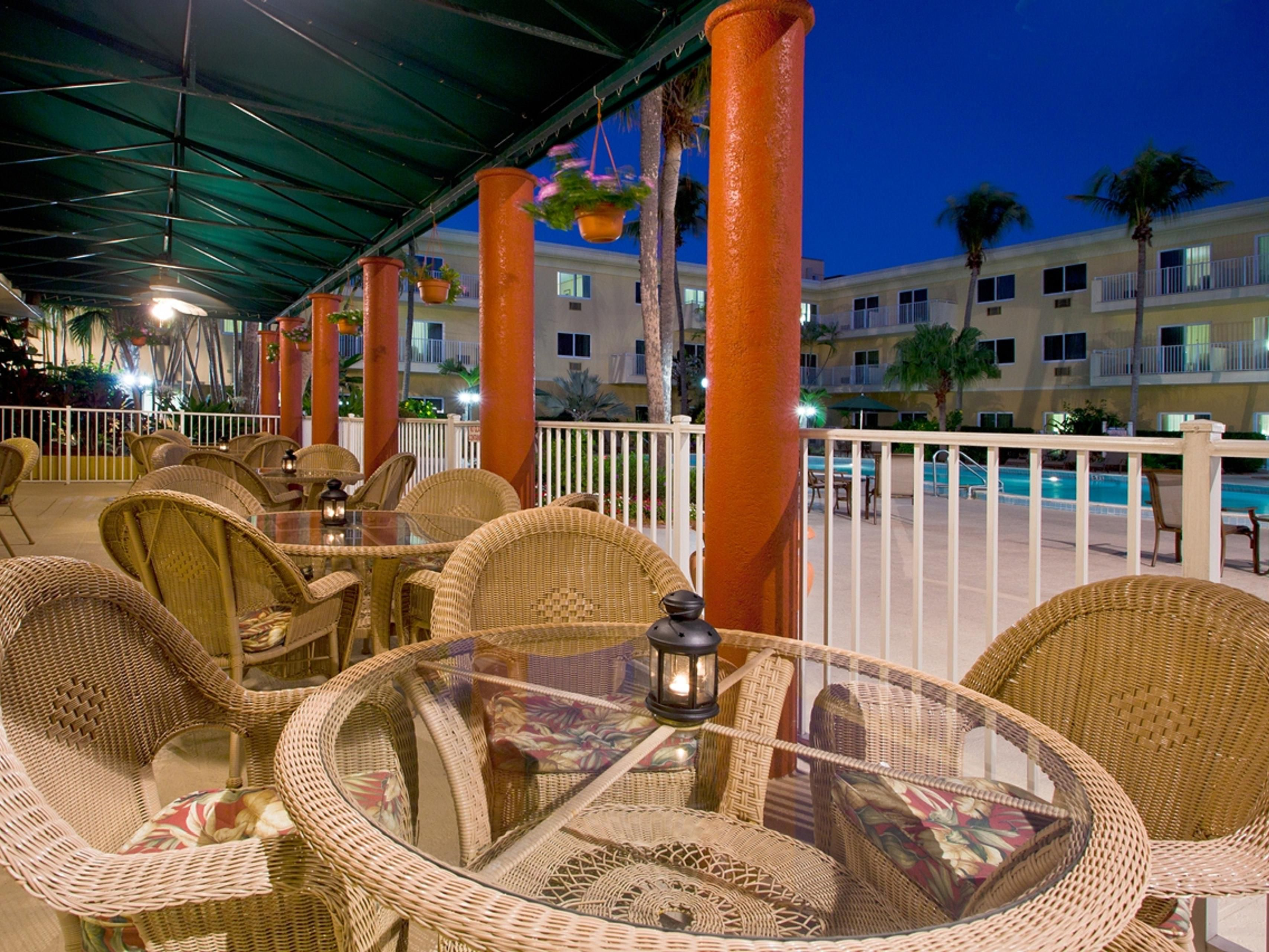 Enjoy the patio seating at our Toucans Restaurant