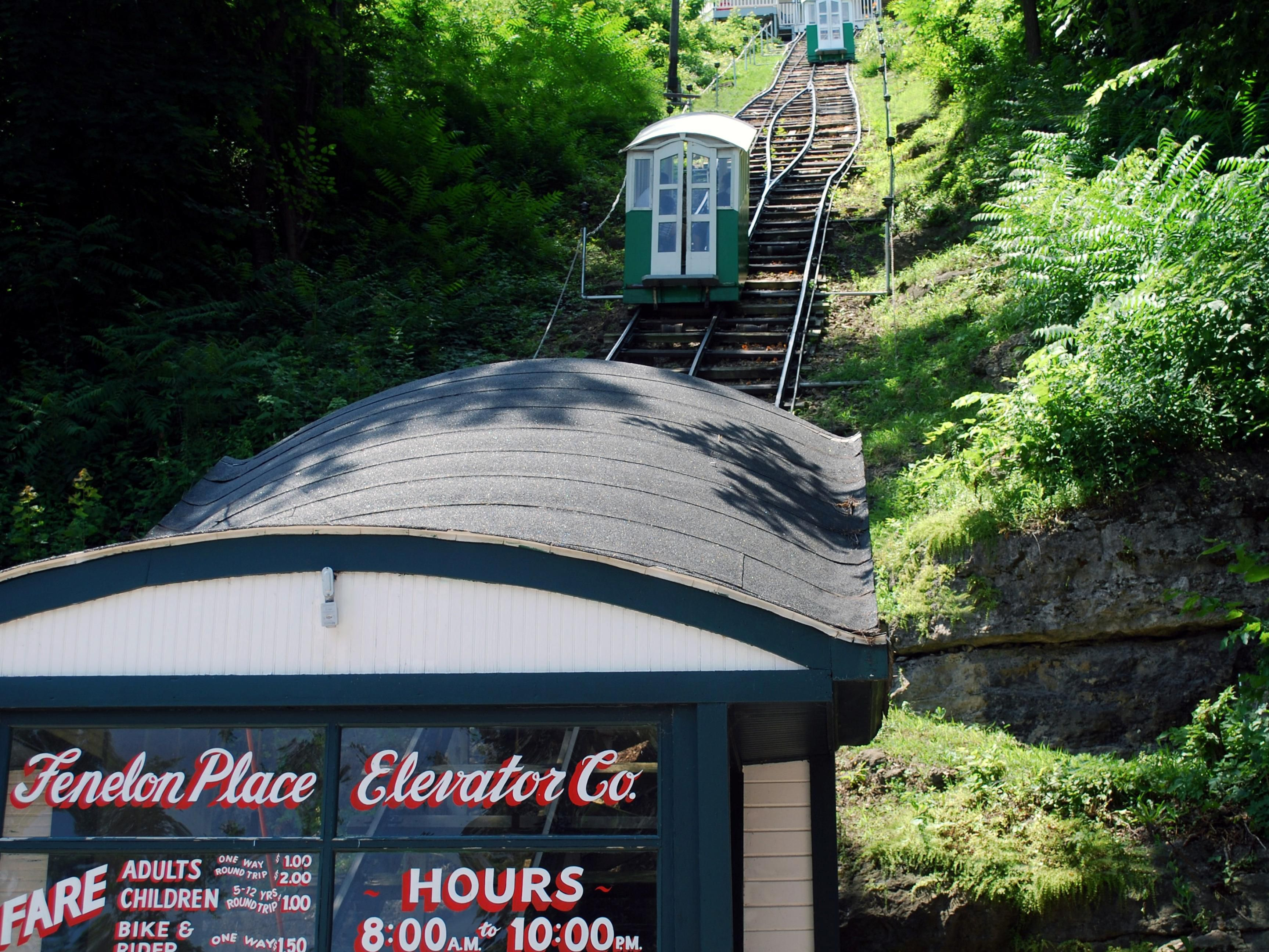 Ride the Fenelon Place Elevator to the top of the bluff