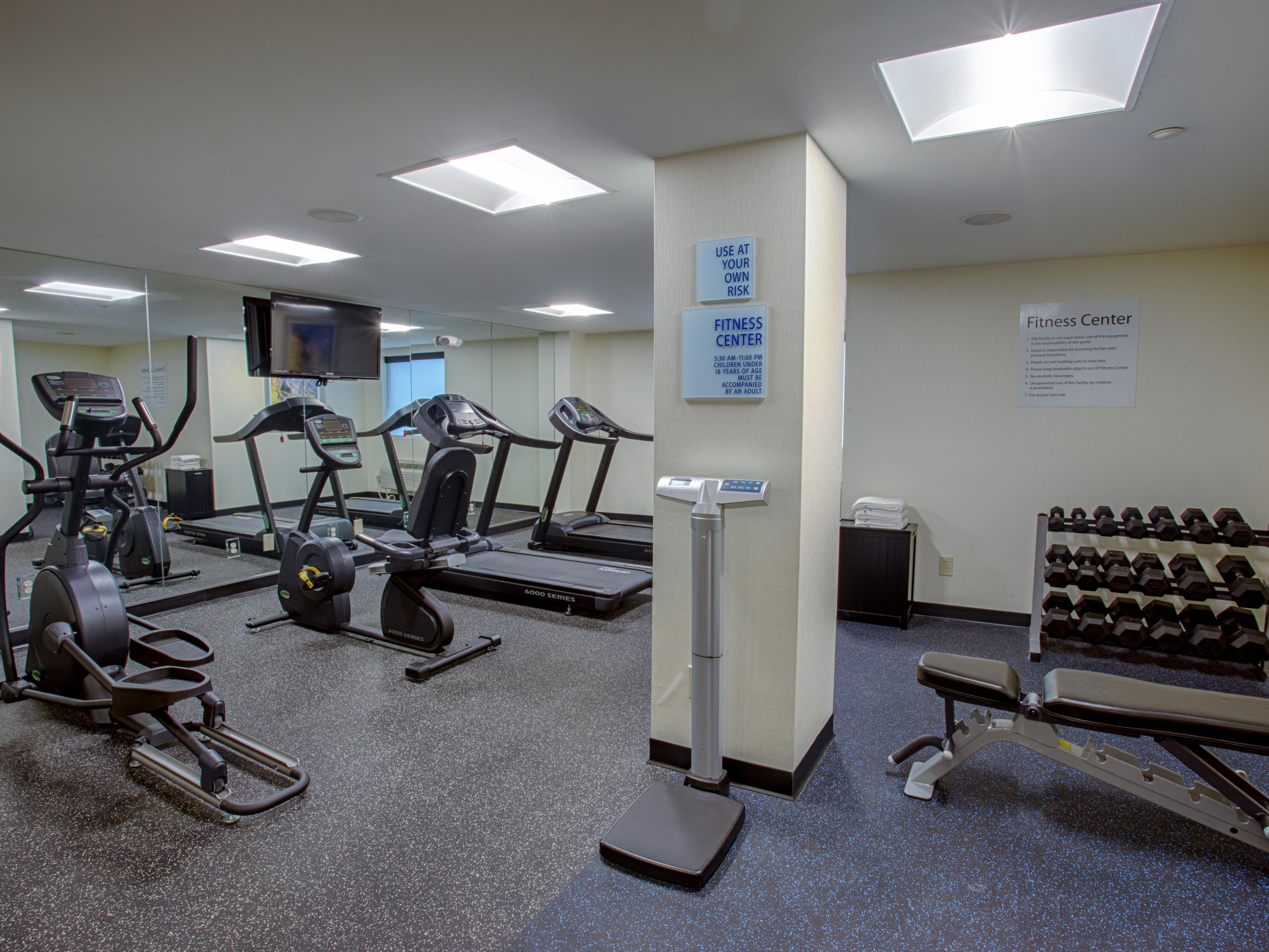 Work out in our well equipped Fitness Center
