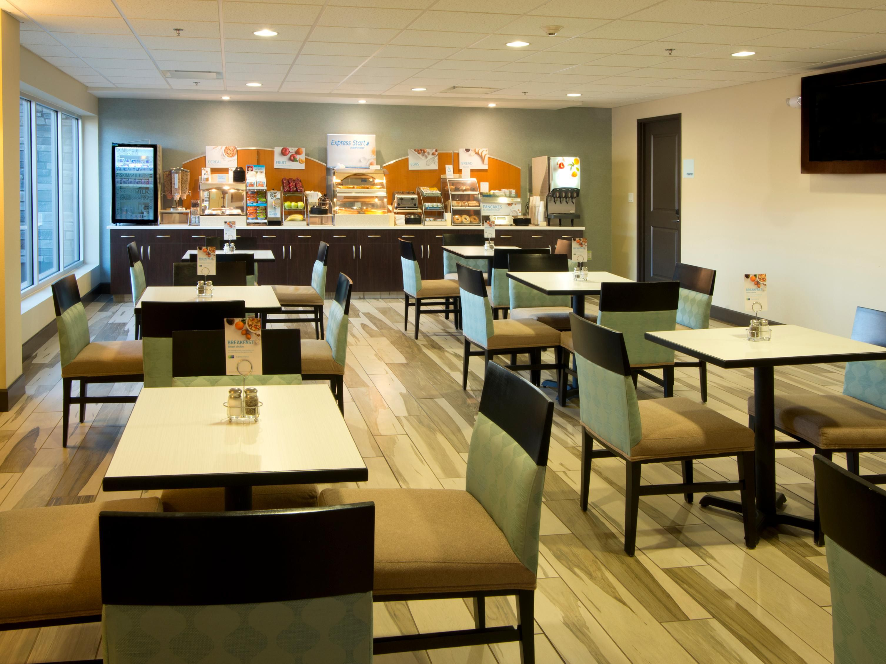 We can accommodate up to 44 people in our breakfast area