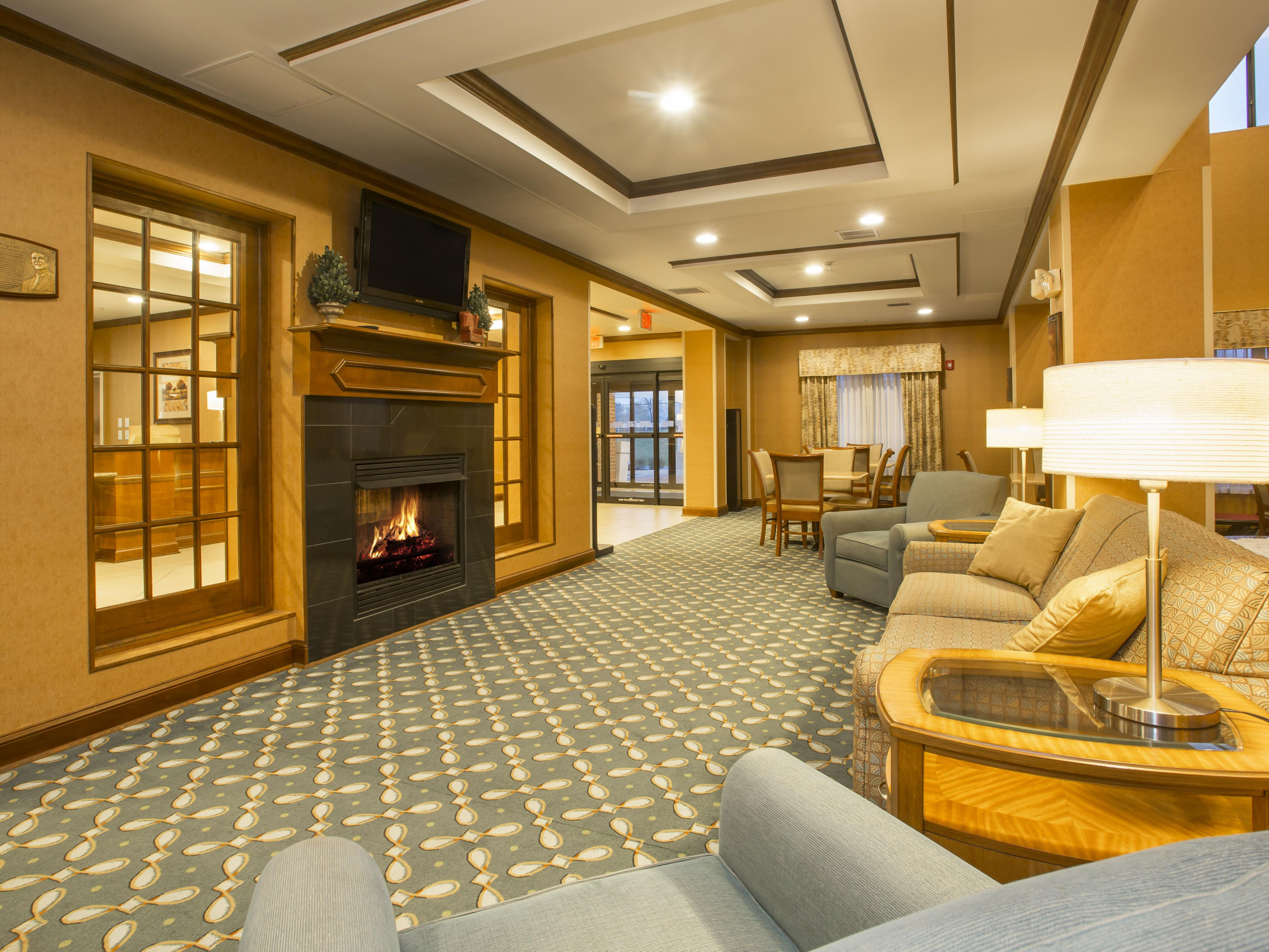 Relax by our inviting Lobby fireplace