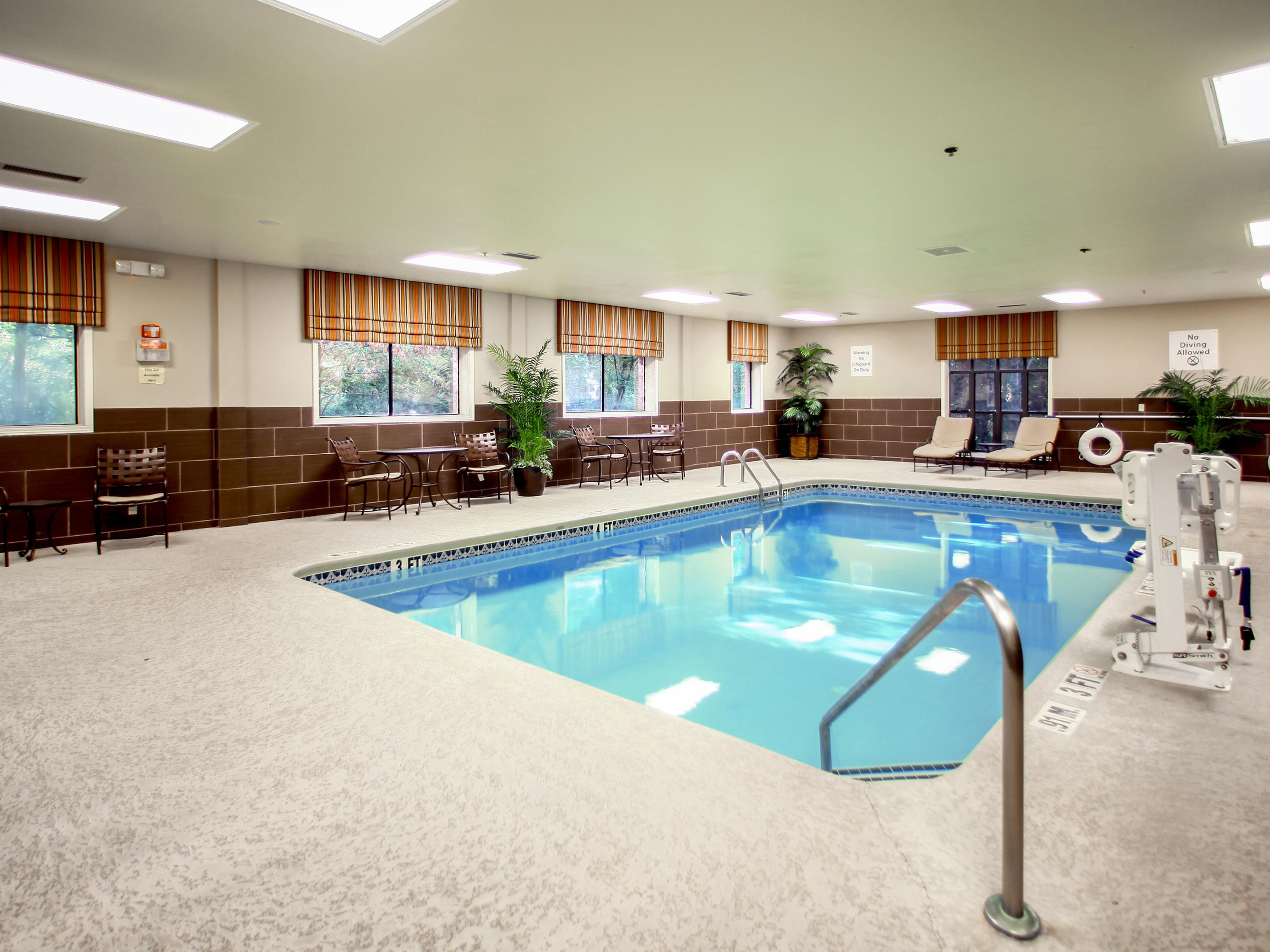 Take a cool dip and relax in our indoor swimming pool