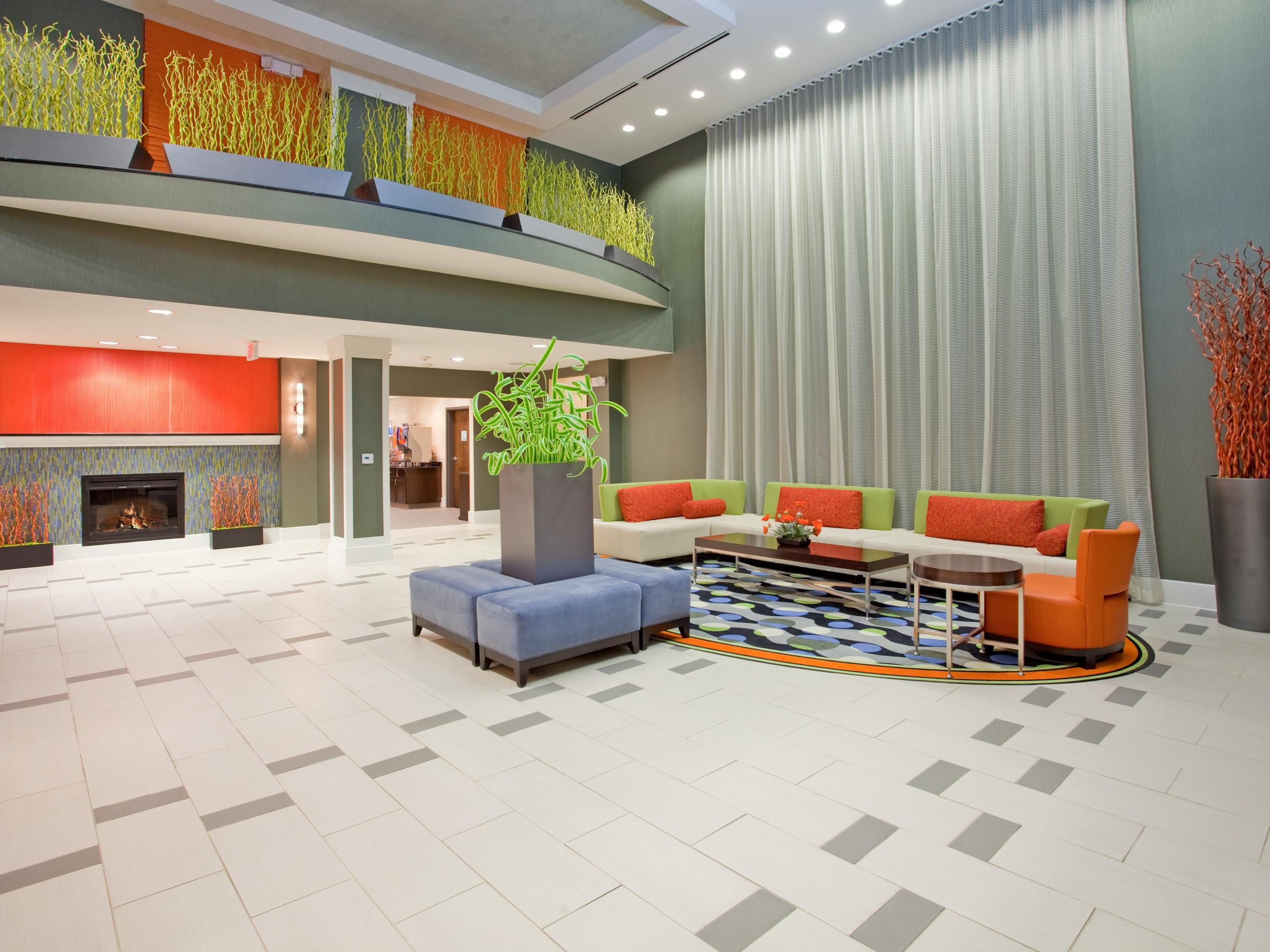 Relax after a long day of driving, in our inviting hotel lobby.