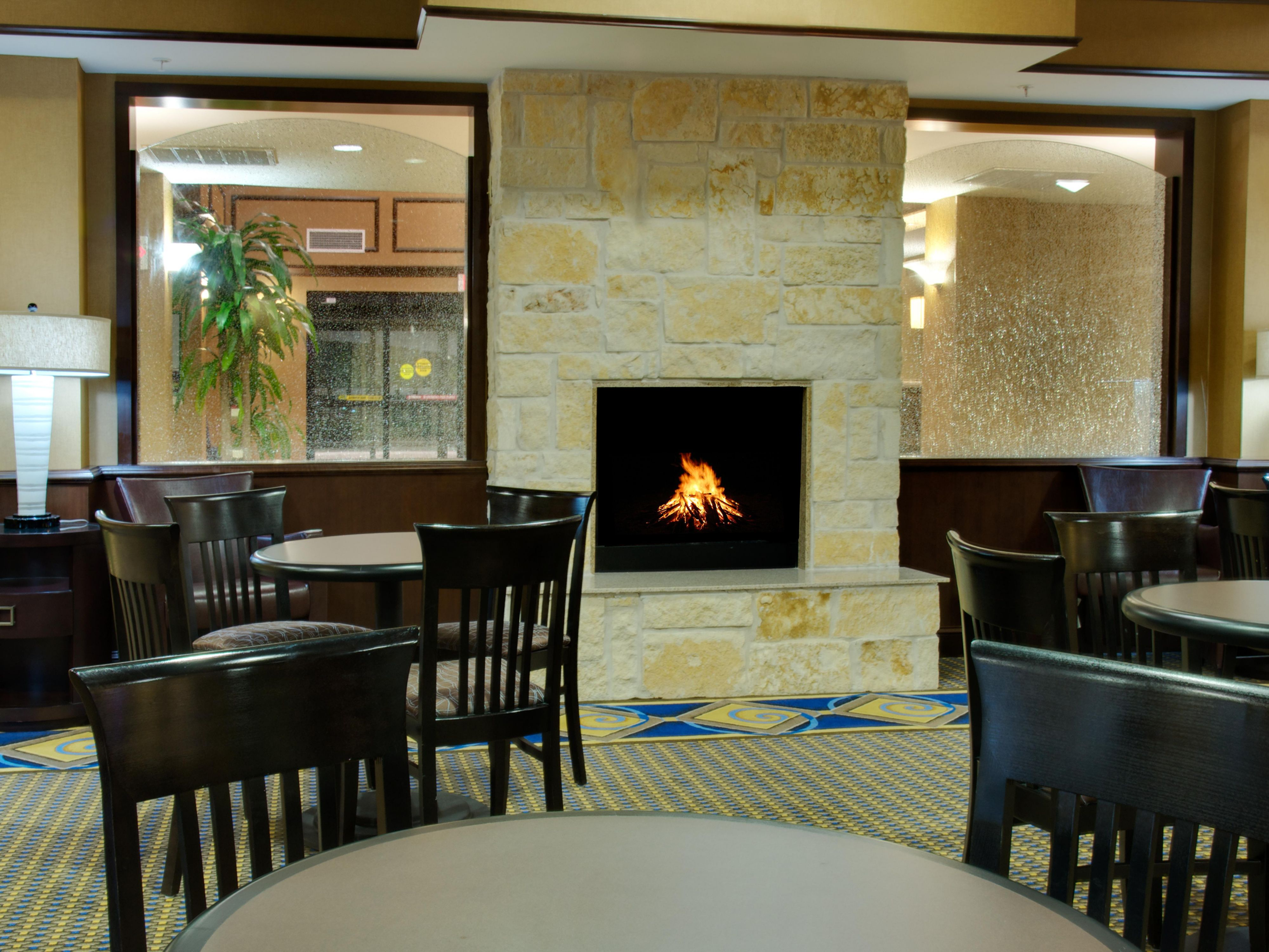 Fireplace in Breakfast Area