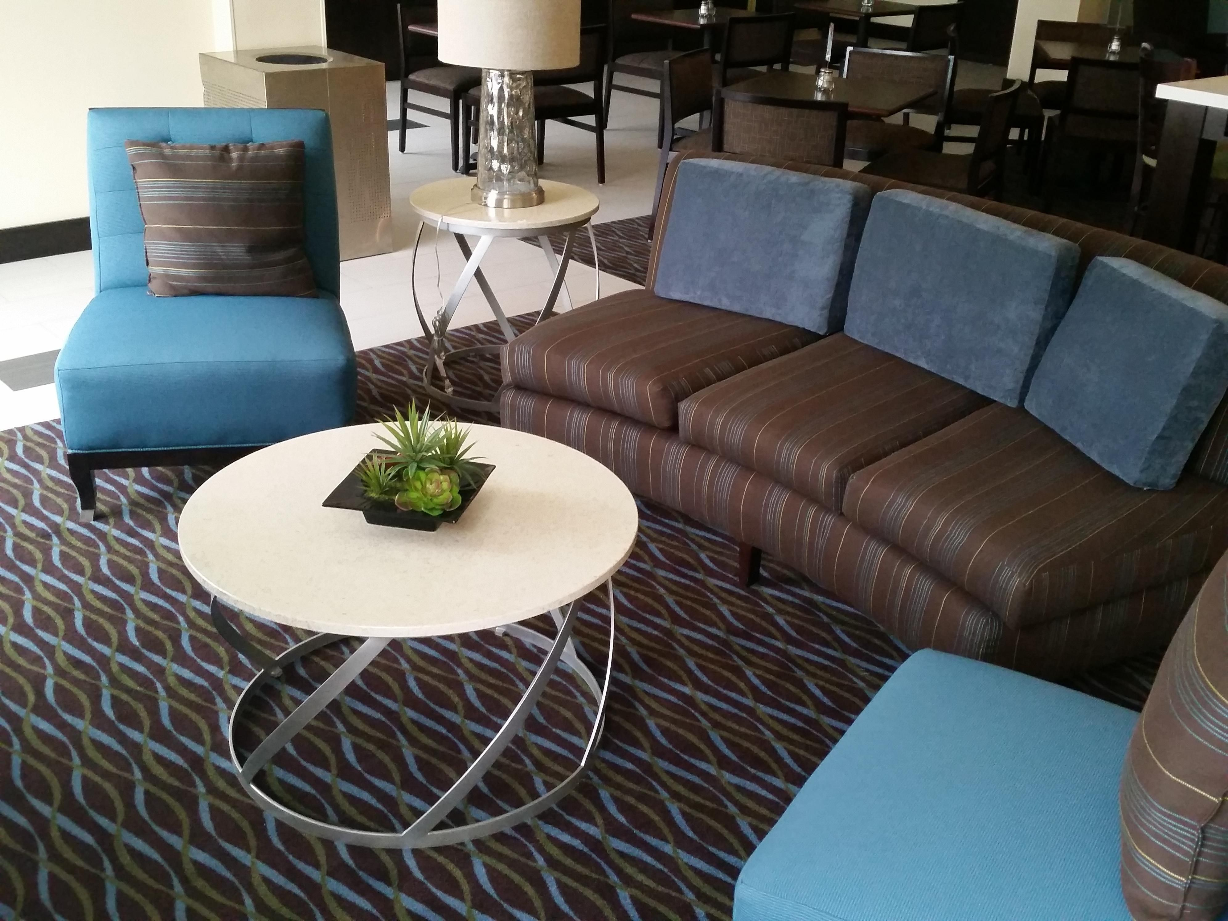 Relax with family and friends on our comfy lobby sofa and chairs