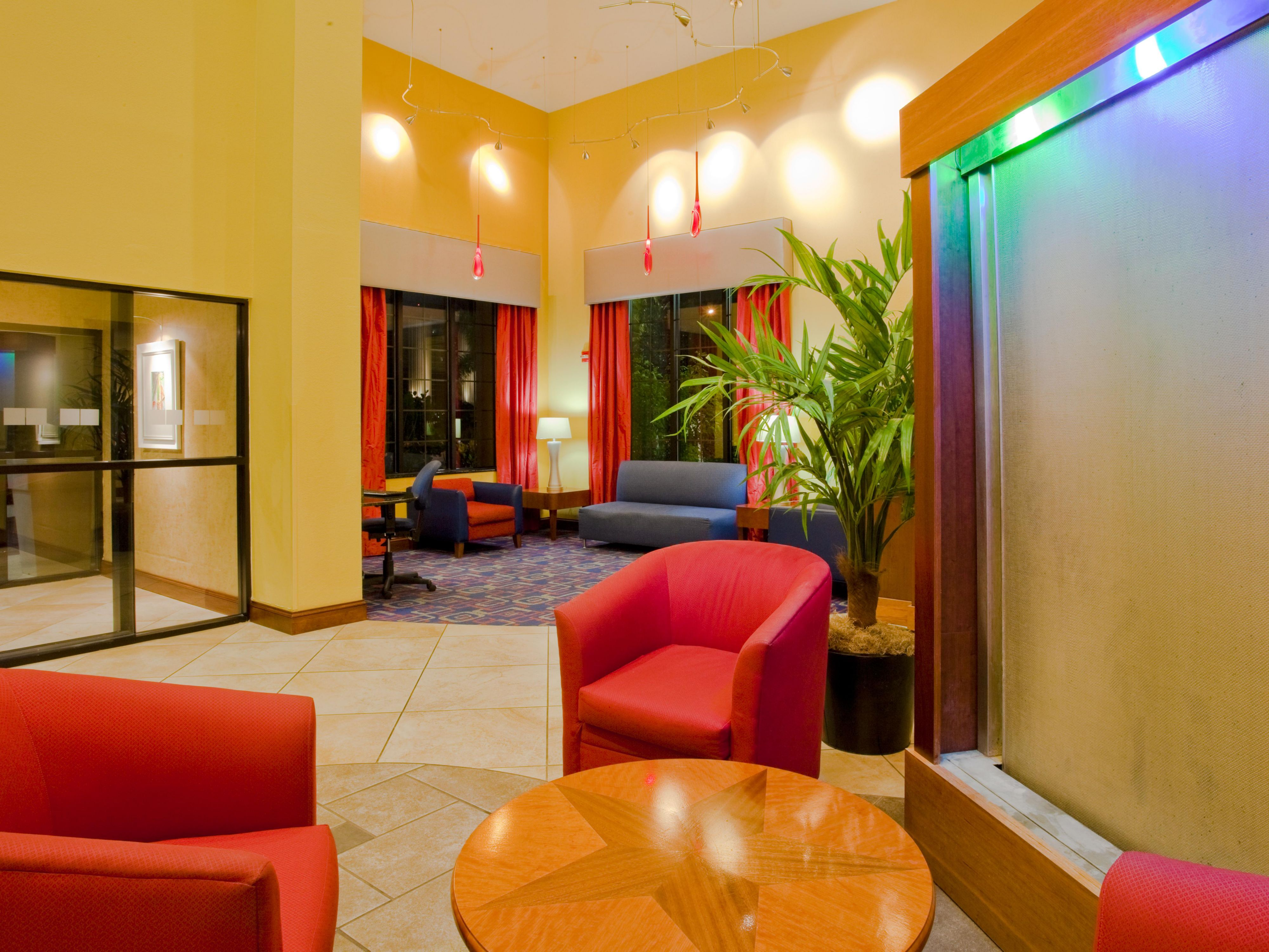 Relax in one of the various seating options in our lobby