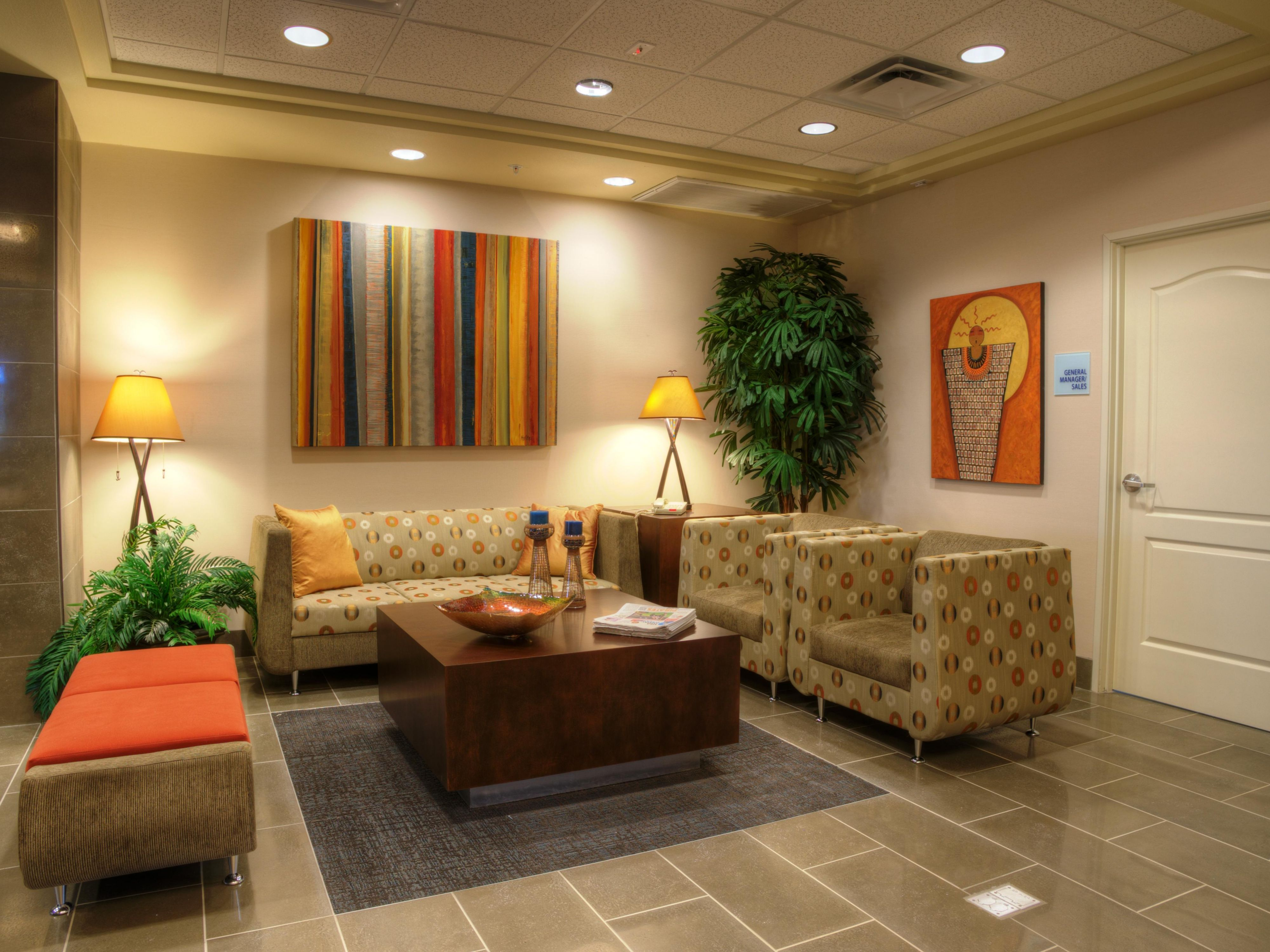 Lobby area of our new hotel by Cigna Healthcare