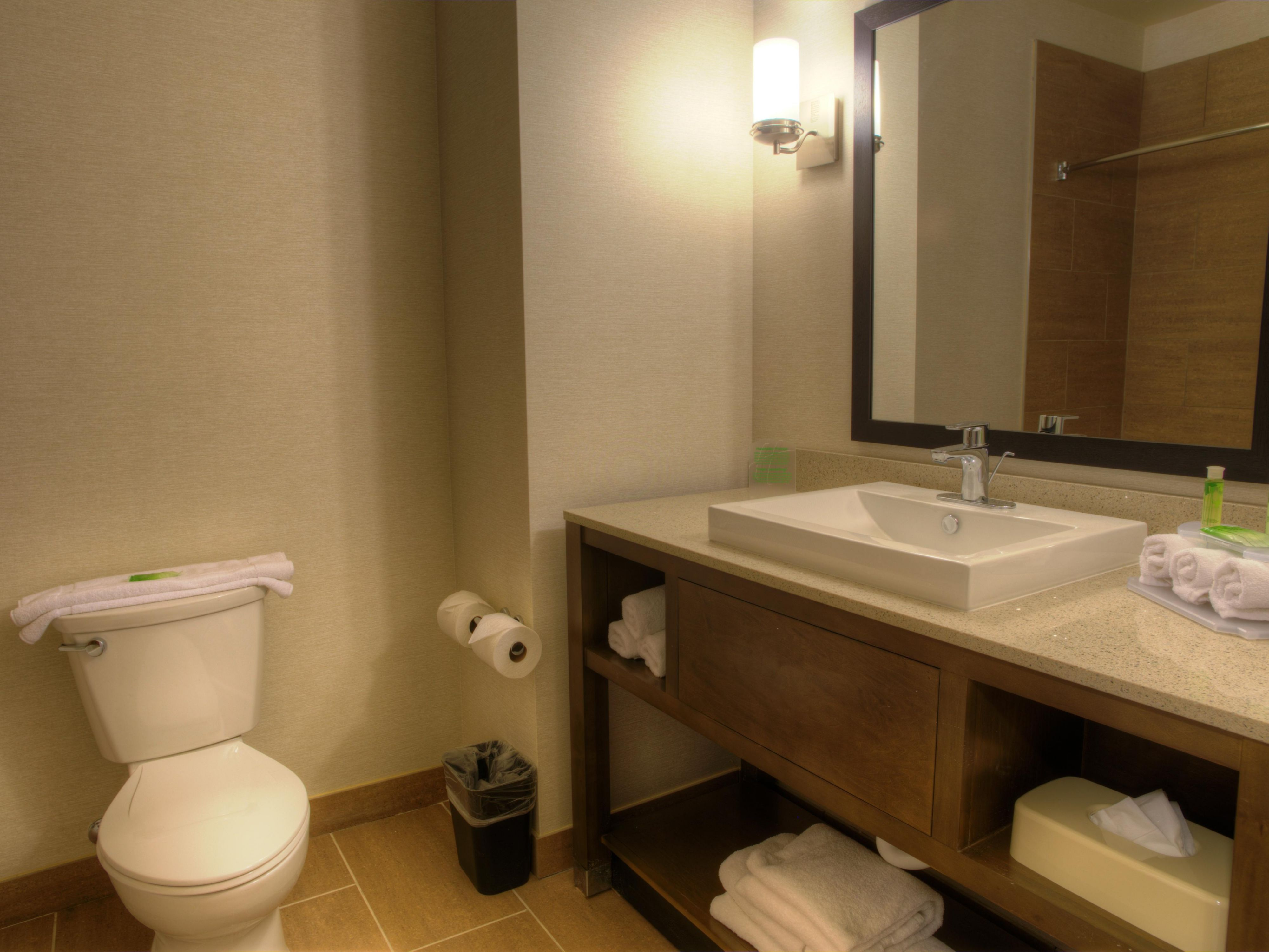 Guest bathroom featuring Bed & Body Works products