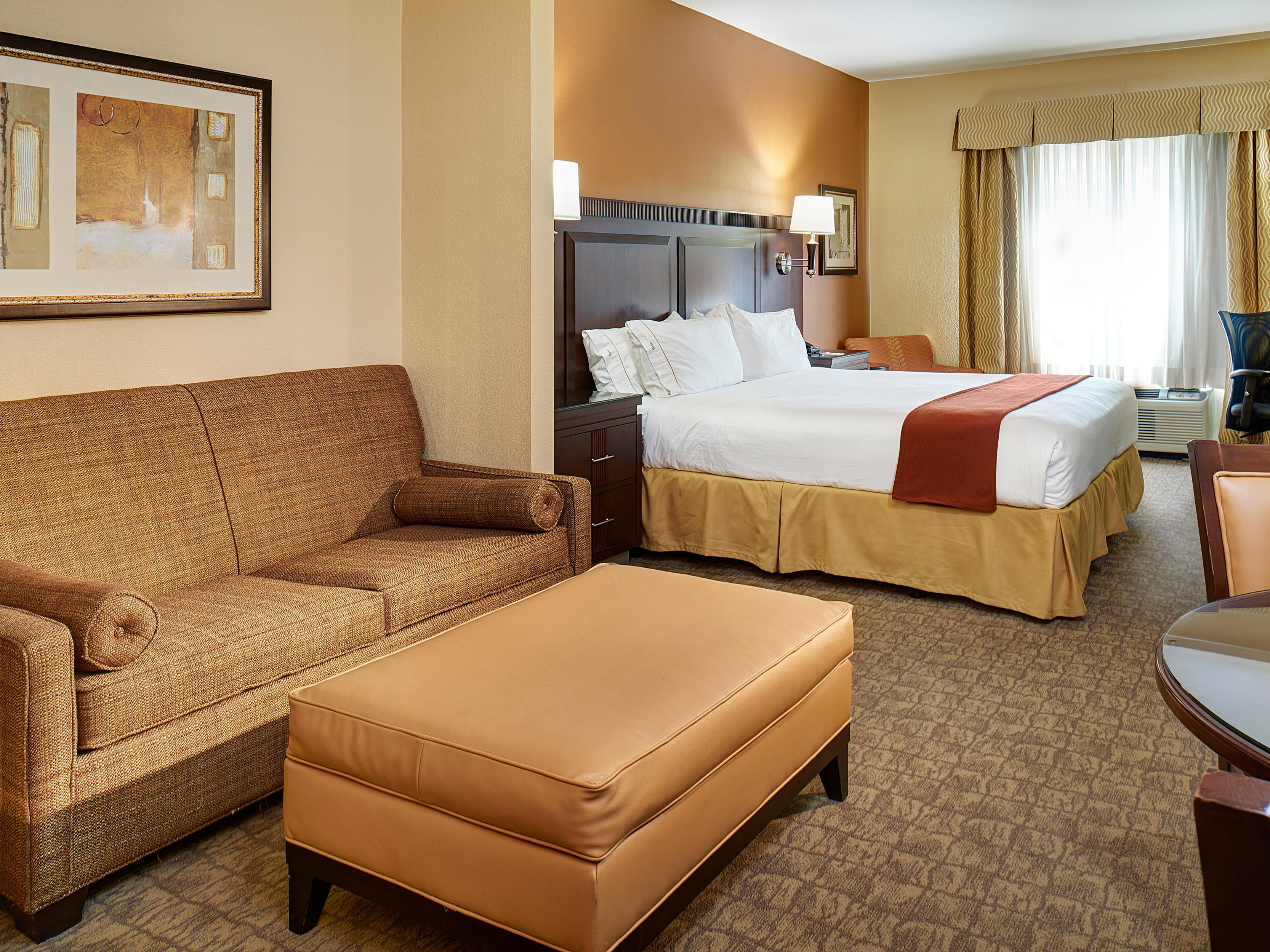 The King Suite features a separate living space.