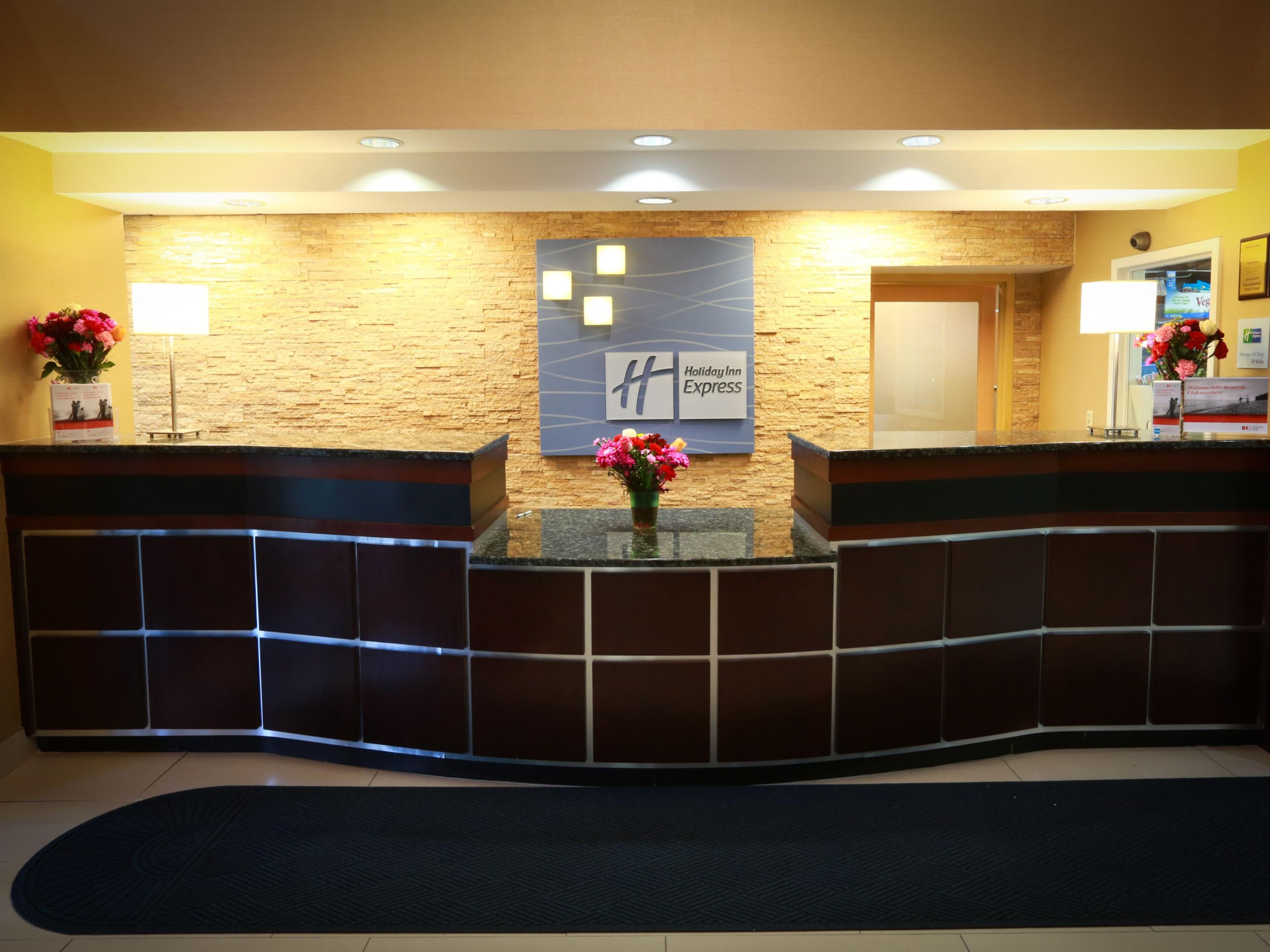 The Front Desk of the Hotel Lobby.