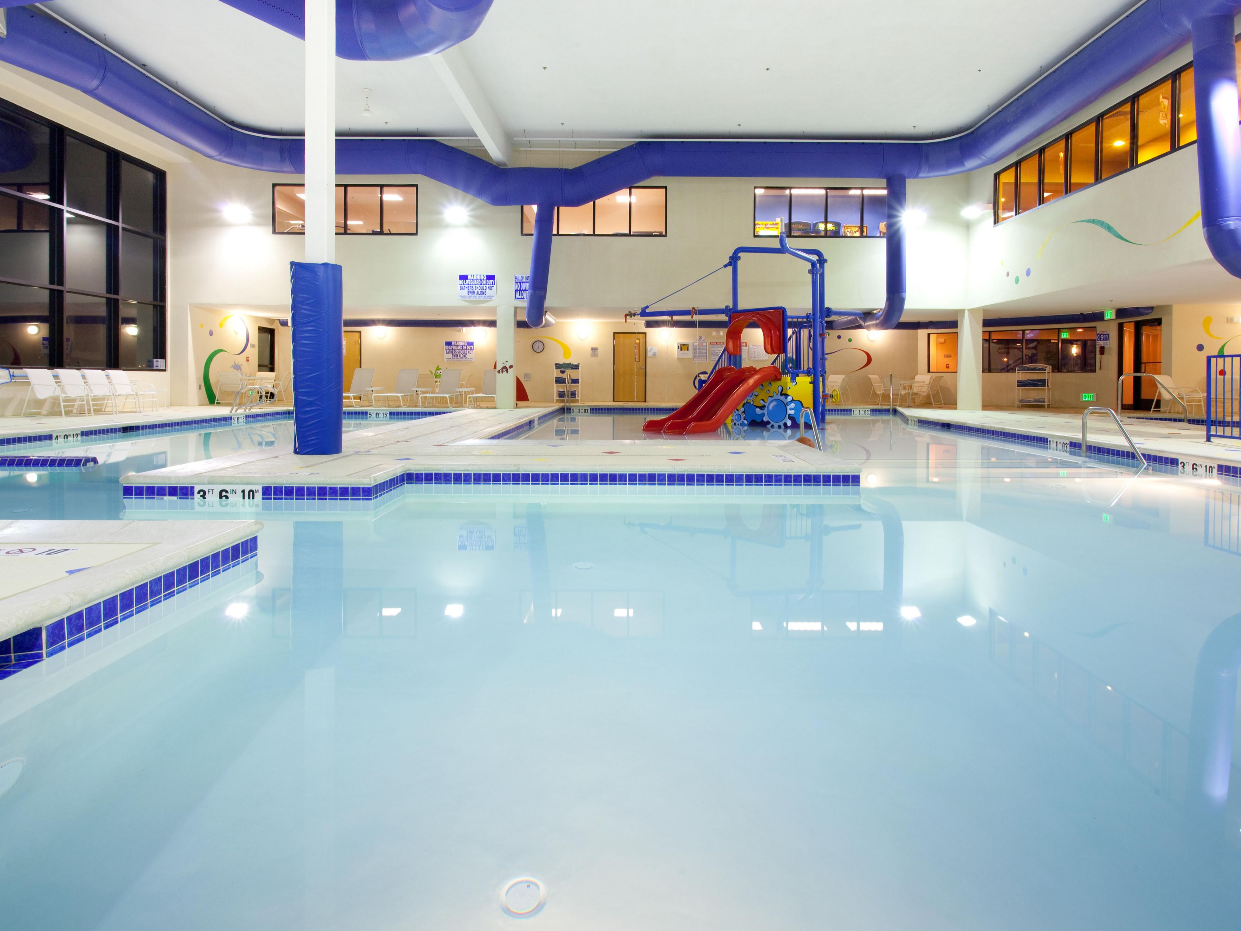 Grins & Fins Water Park includes 3 heated indoor pools