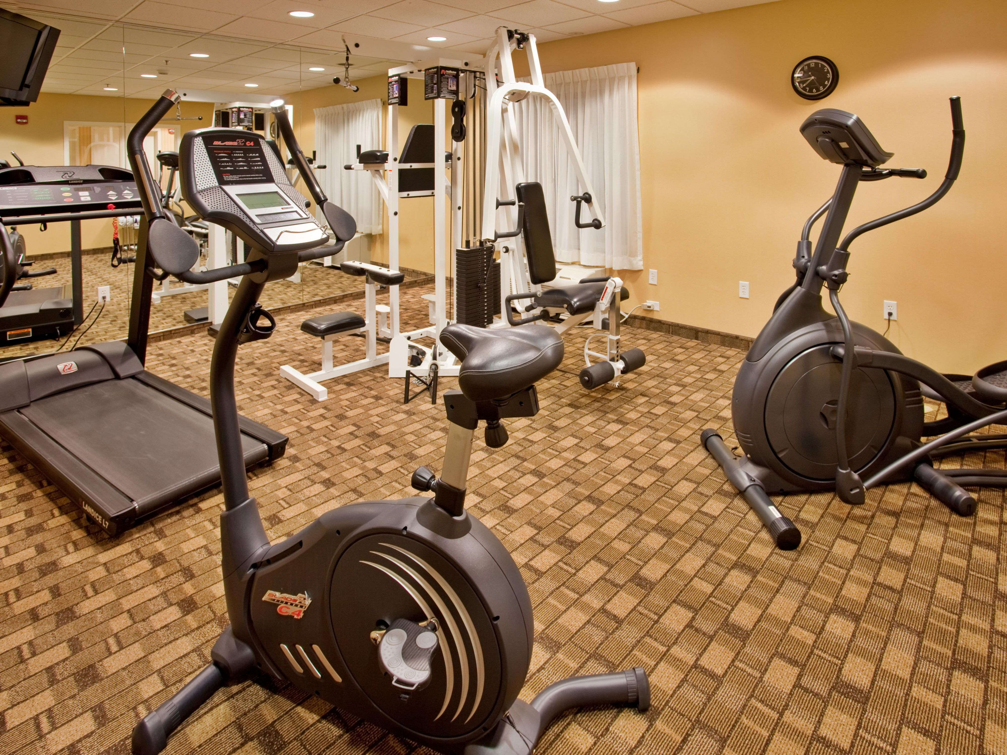 Stay fit on the road in the on-site fitness center