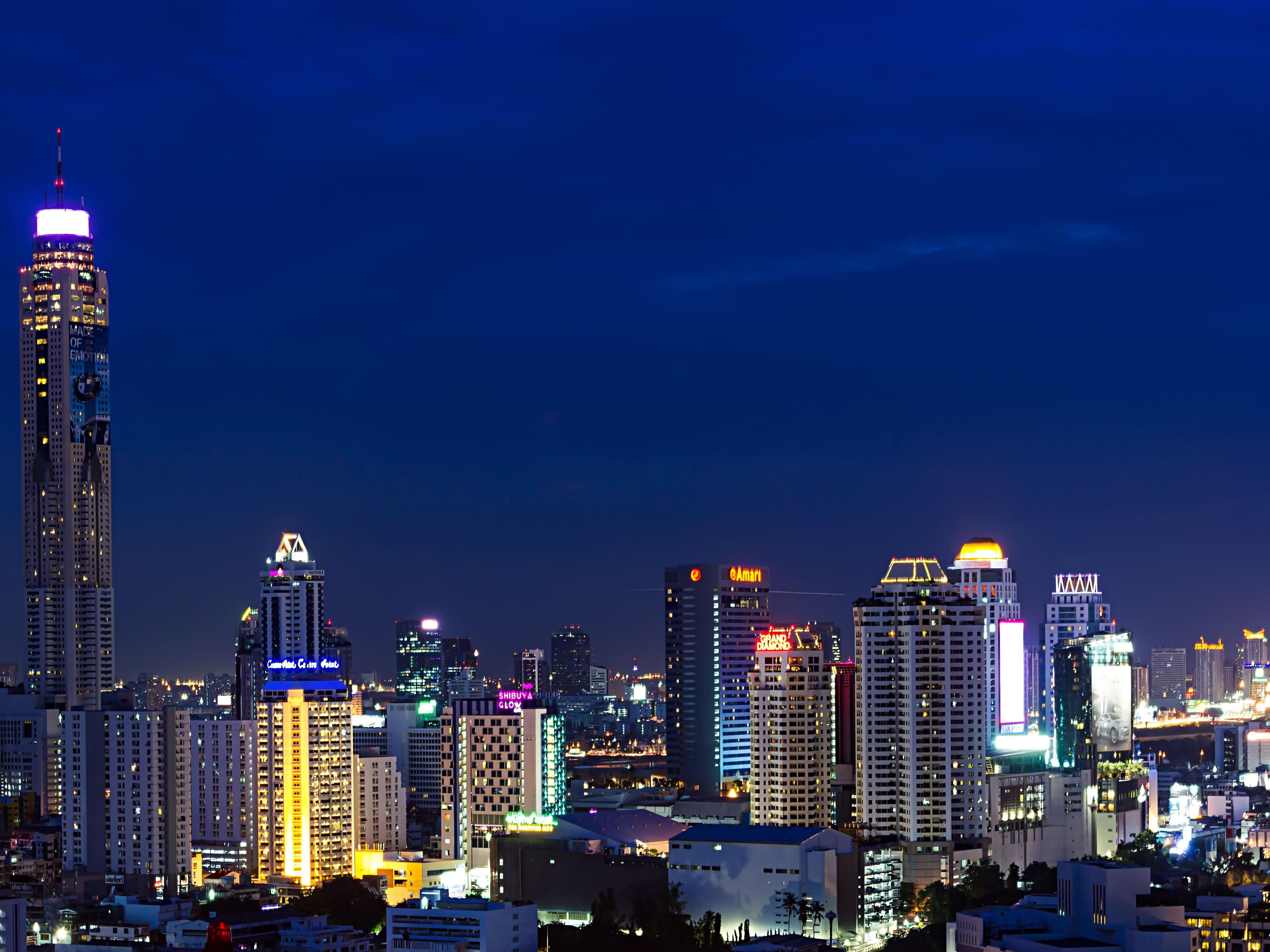 View of Bangkok city at night from our rooftop level