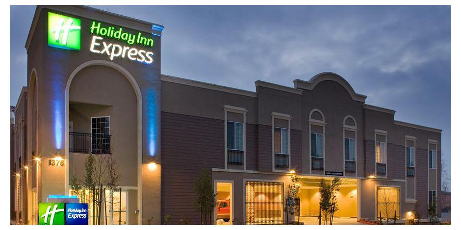 Holiday Inn Express Benicia Atrium Front Desk Hotel At Night