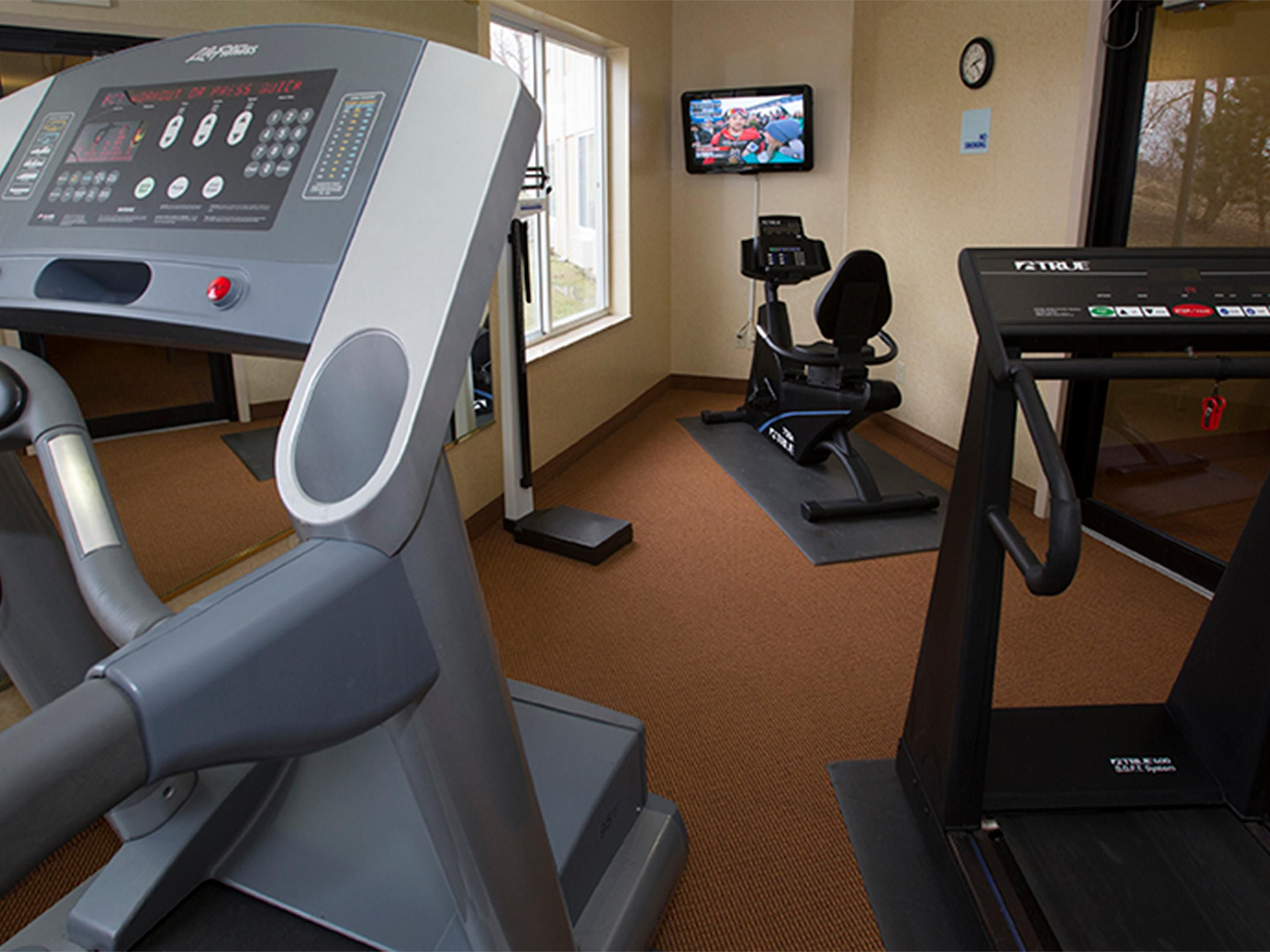 Health Club: Two treadmills and stationary bicycle