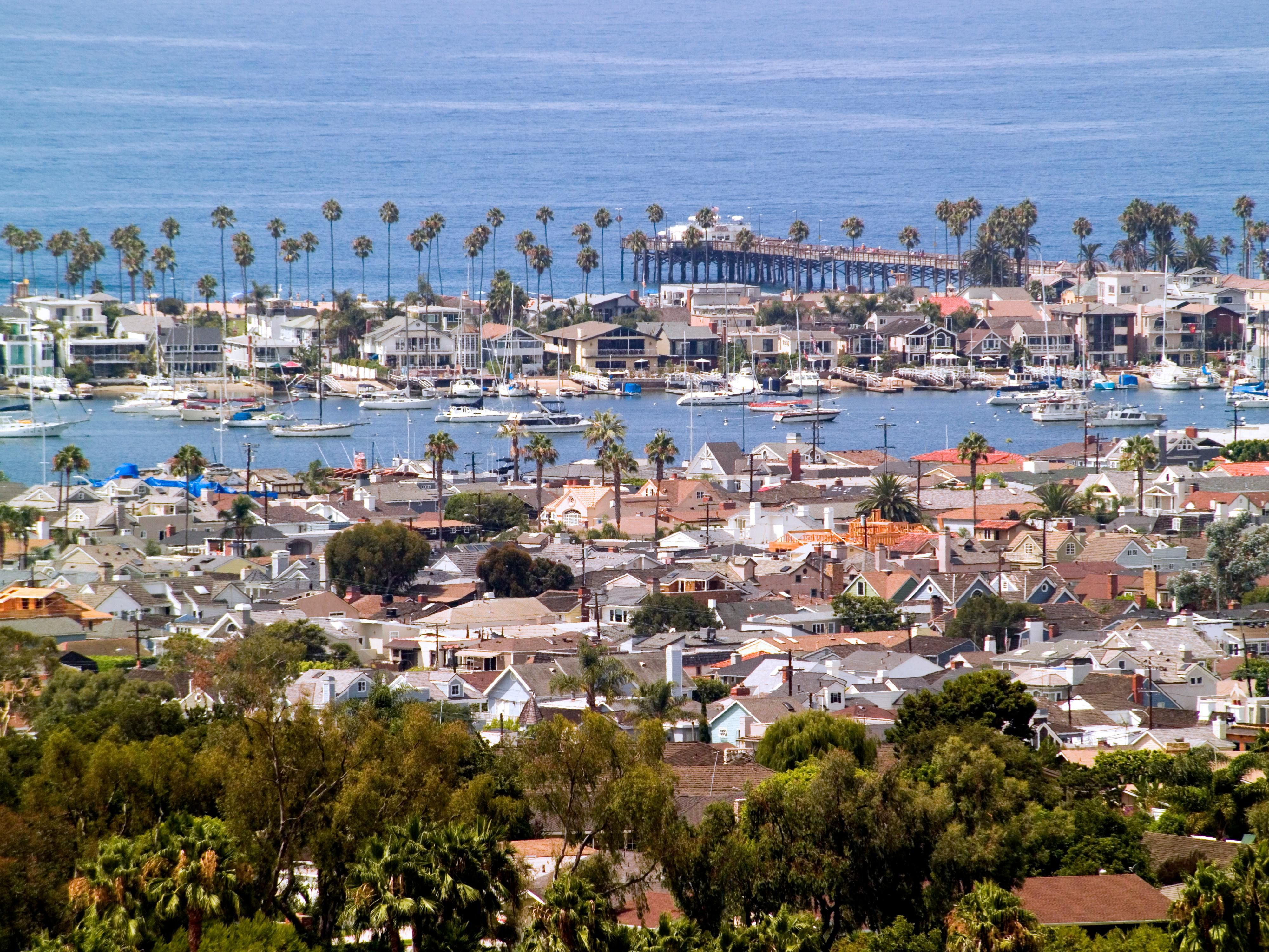 Aerial view of Newport Harbor