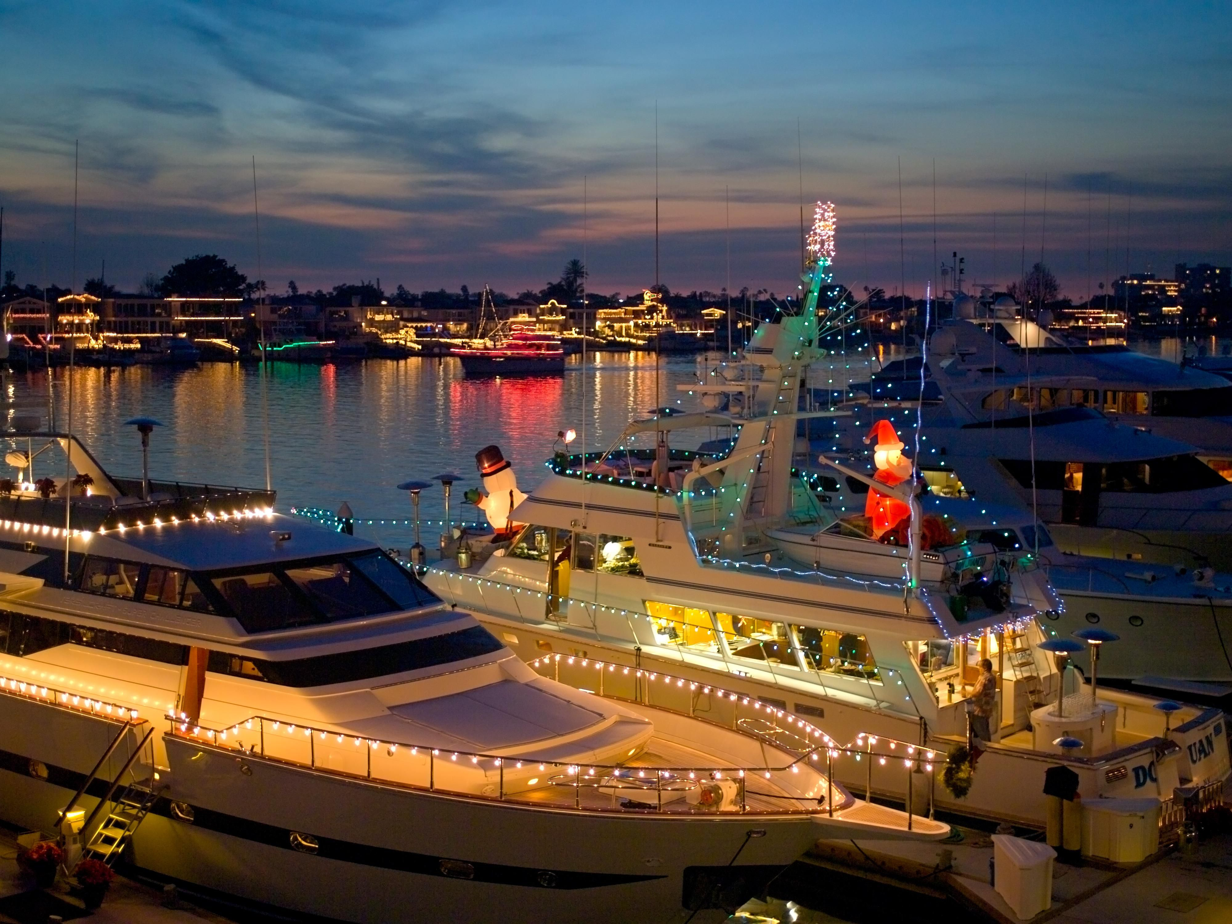 Newport Harbor during Christmas Boat Parade