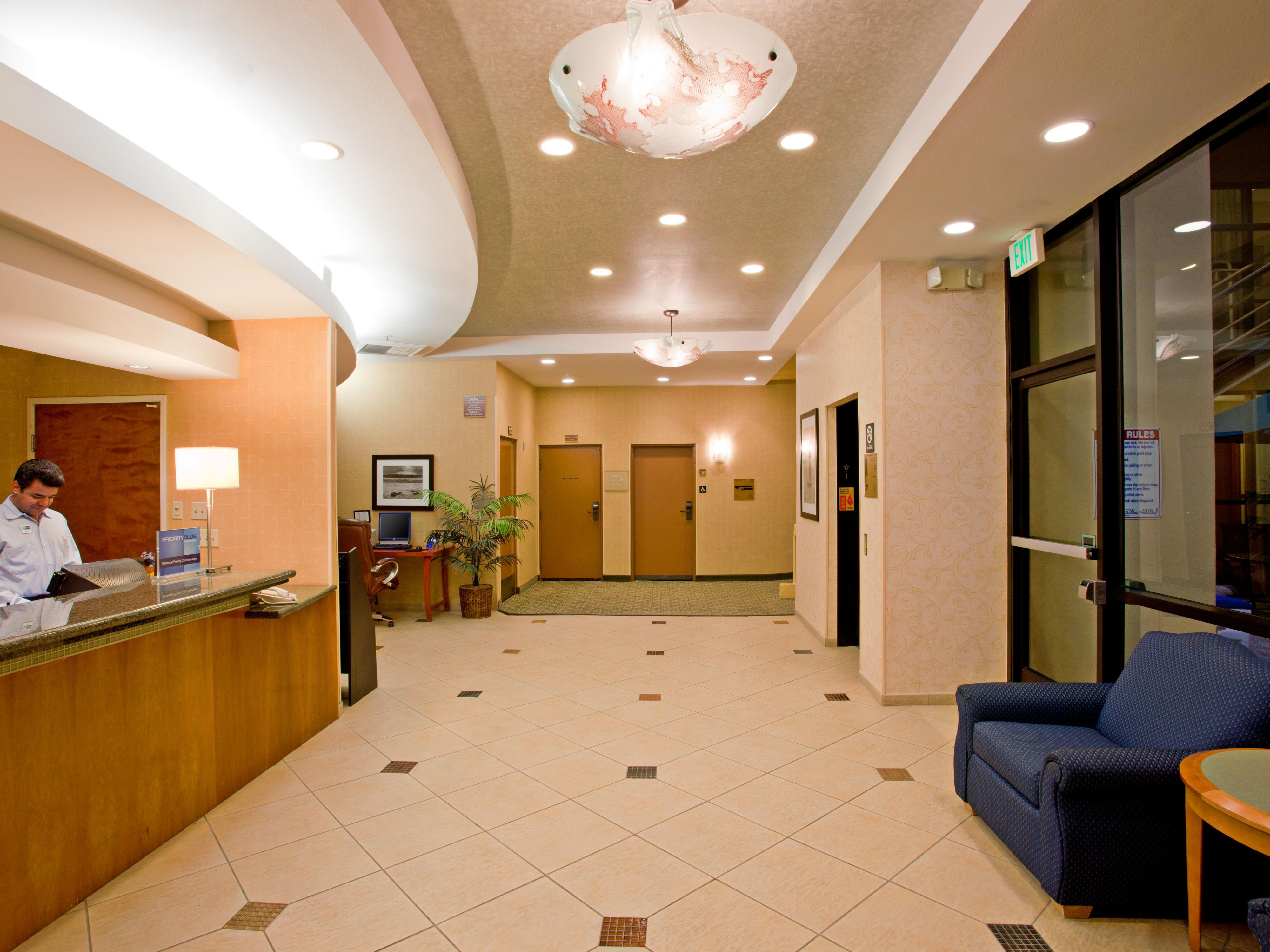 Front desk area of the Holiday Inn Express Newport Beach