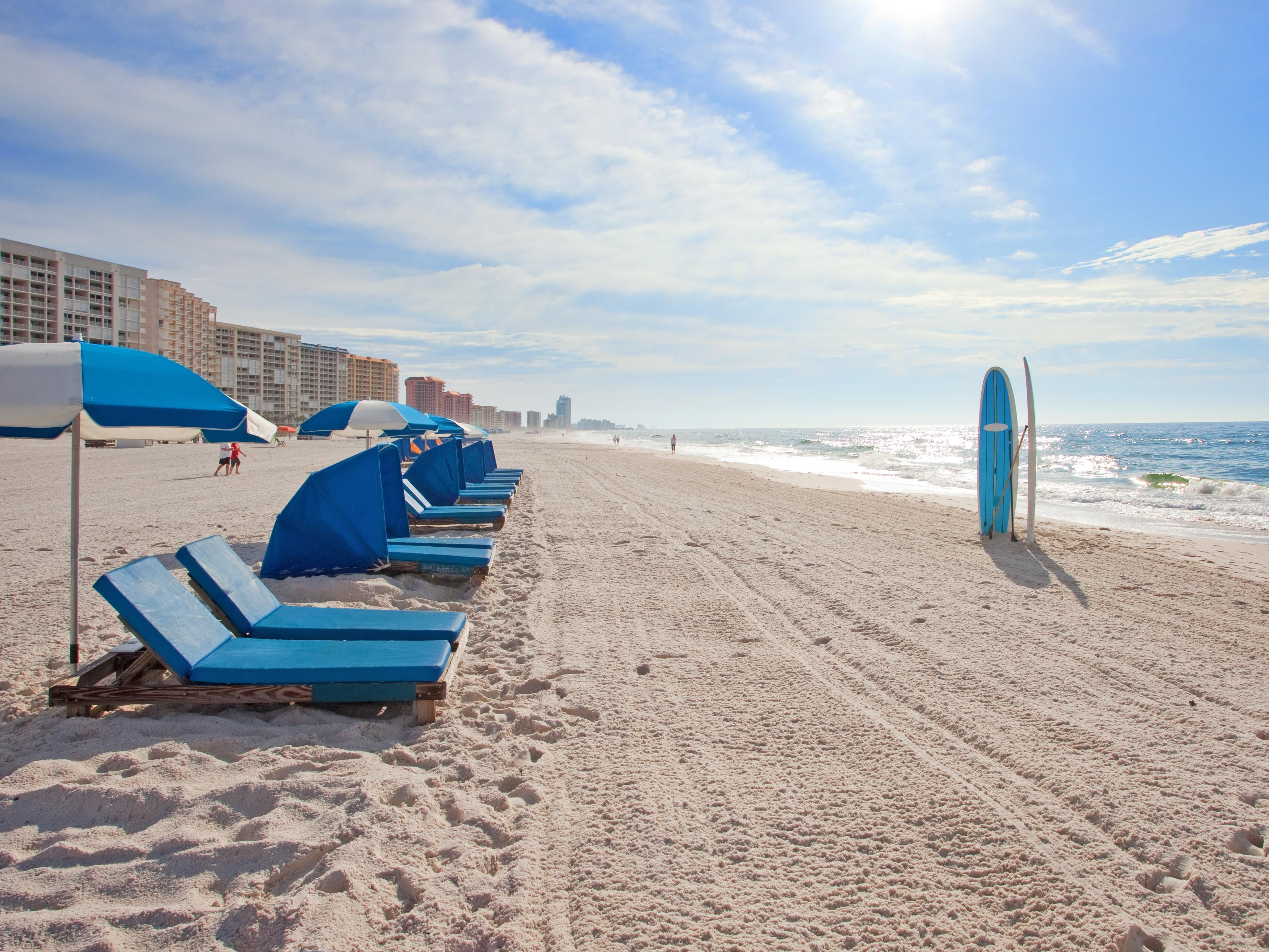 Relax on the beautiful white sands of the Gulf Coast