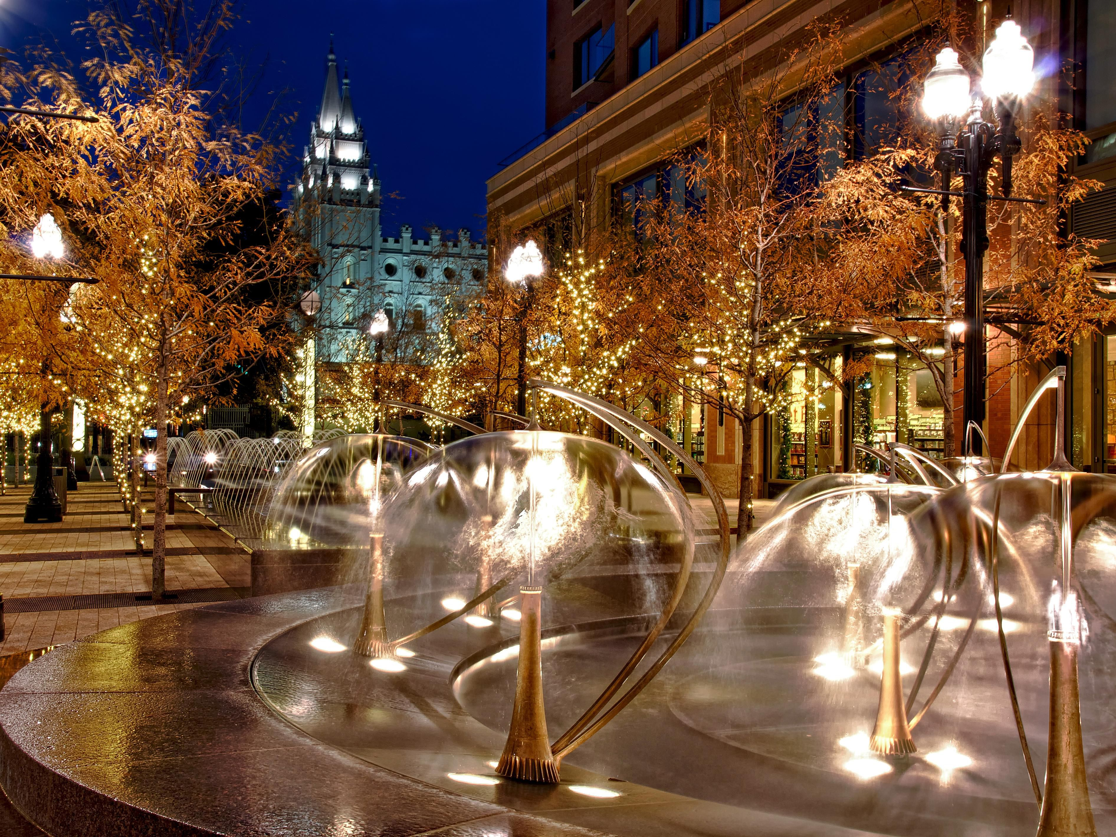 City Creek fountains and shopping center is within two blocks