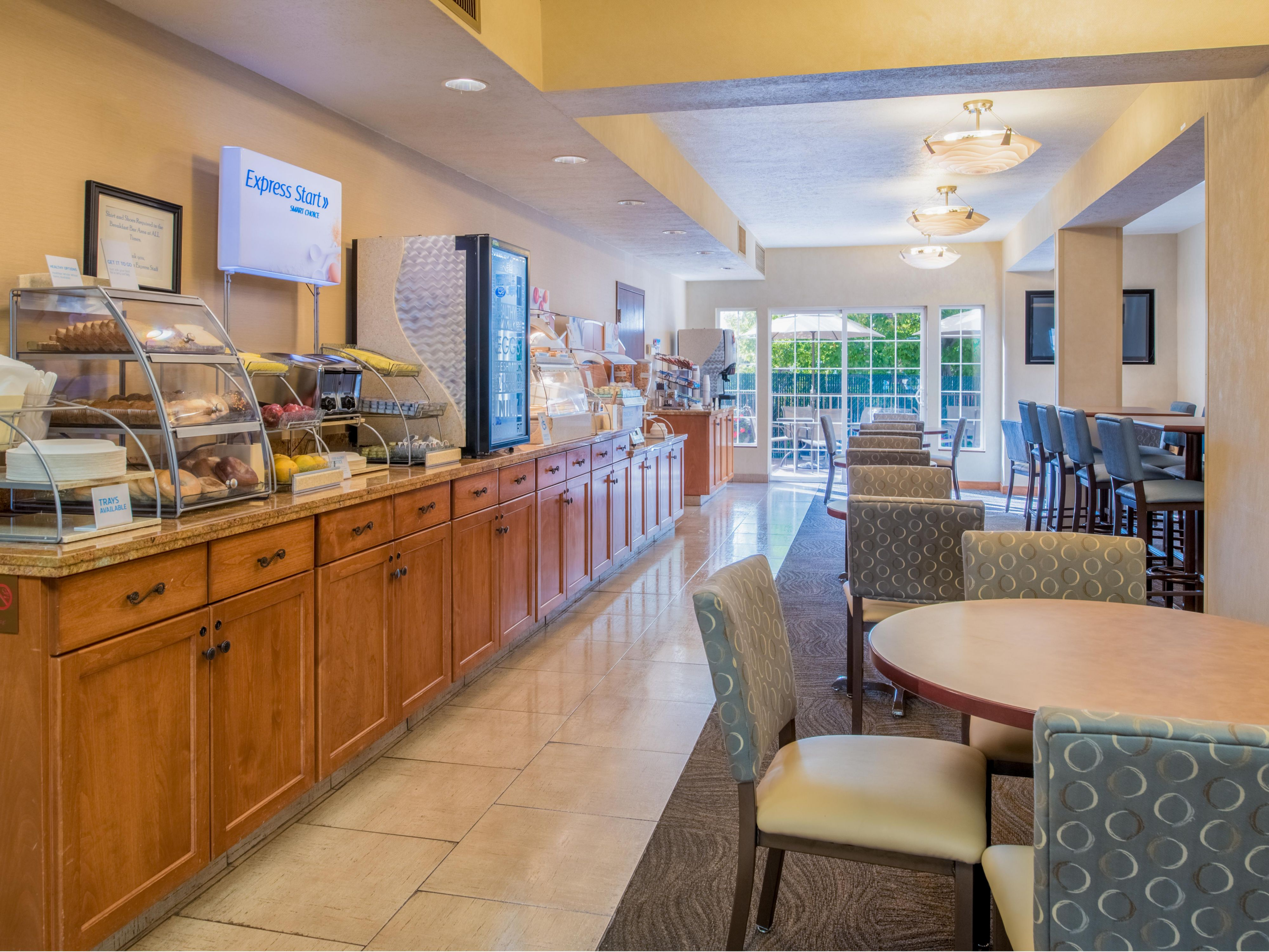 Enjoy a Hot Breakfast Buffet in our spacious Breakfast Bar