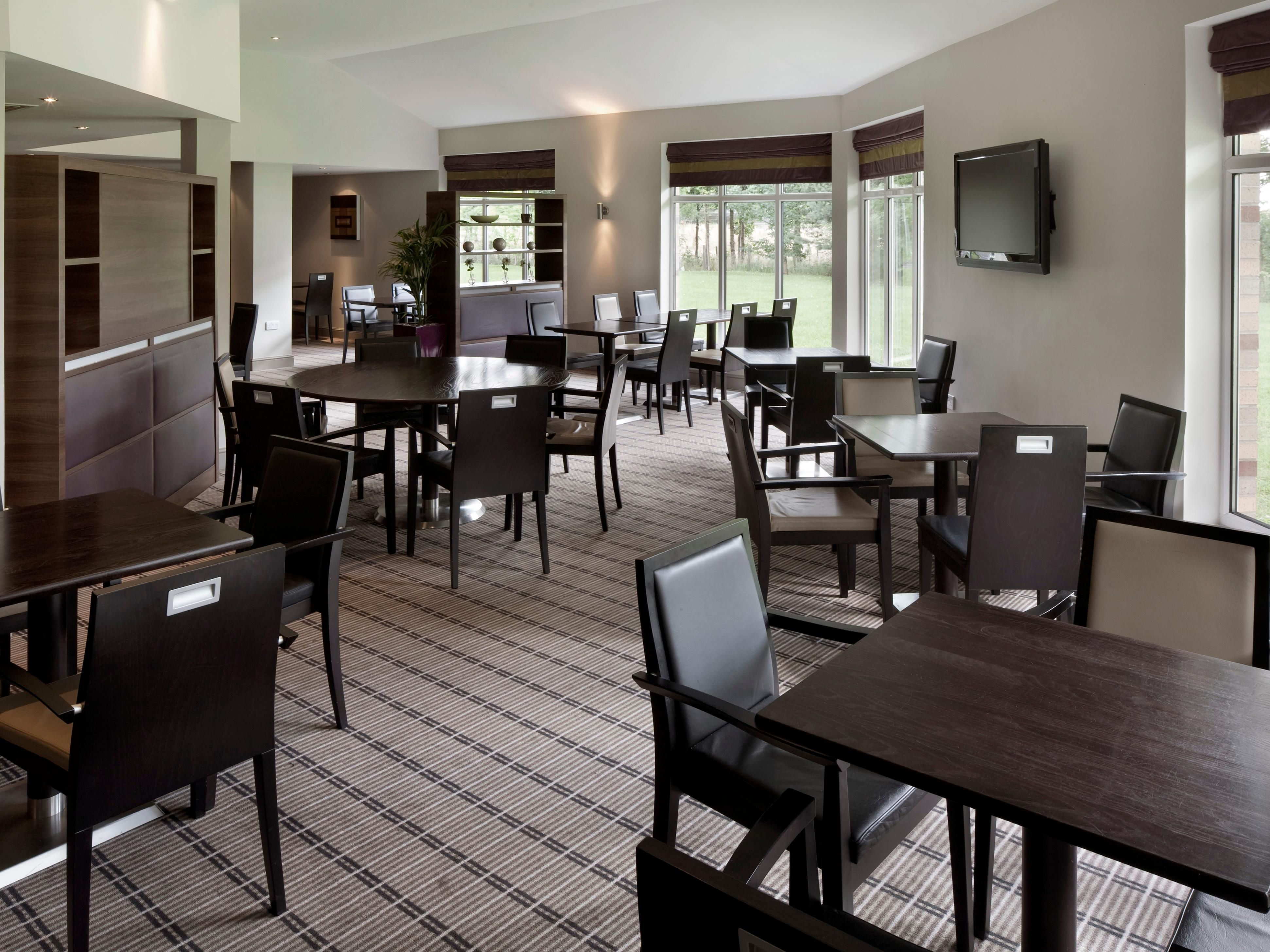 The modern lounge at the Holiday Inn Express hotel in Stirling