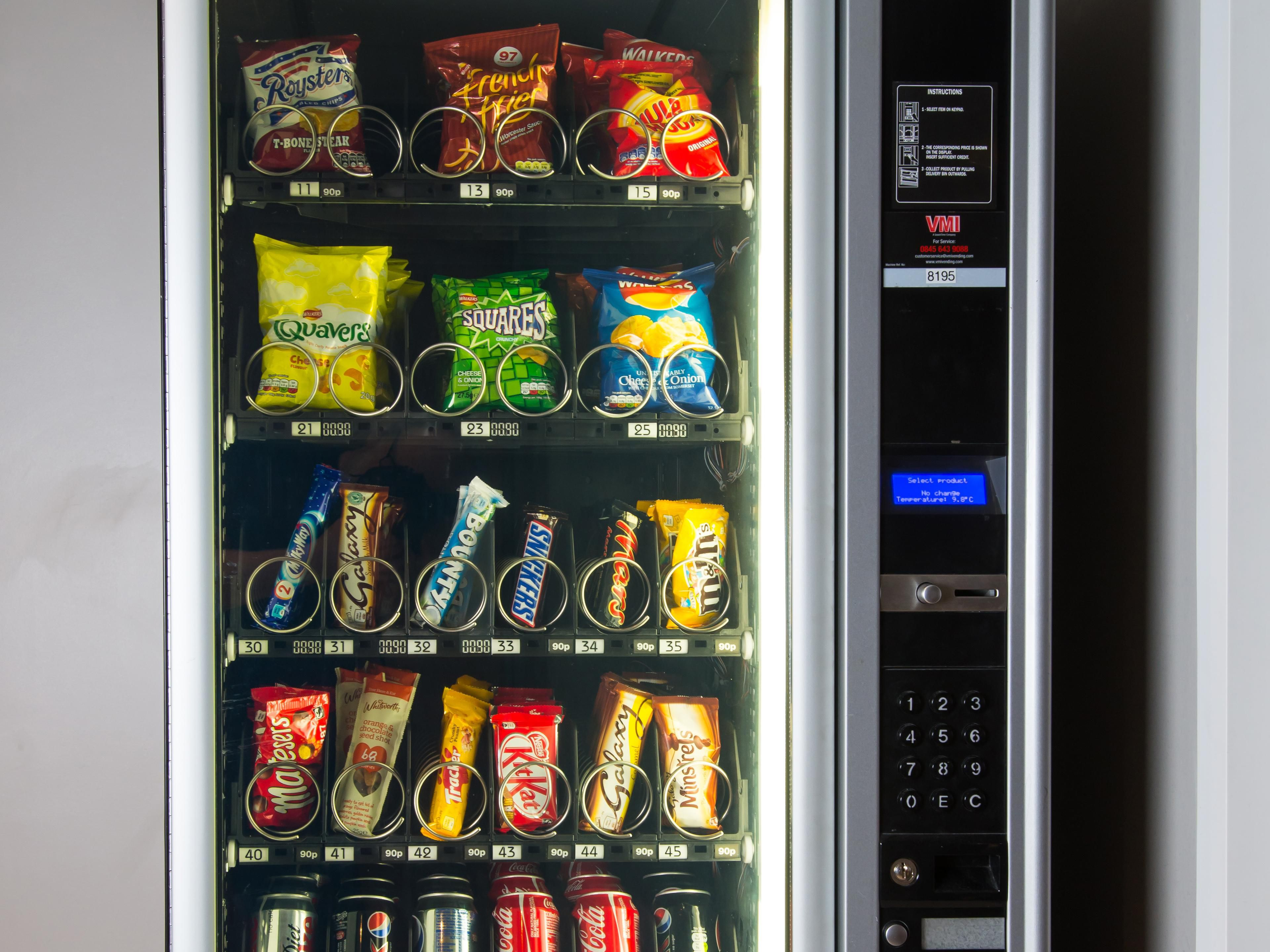Feeling peckish? Our vending machine is located at Reception