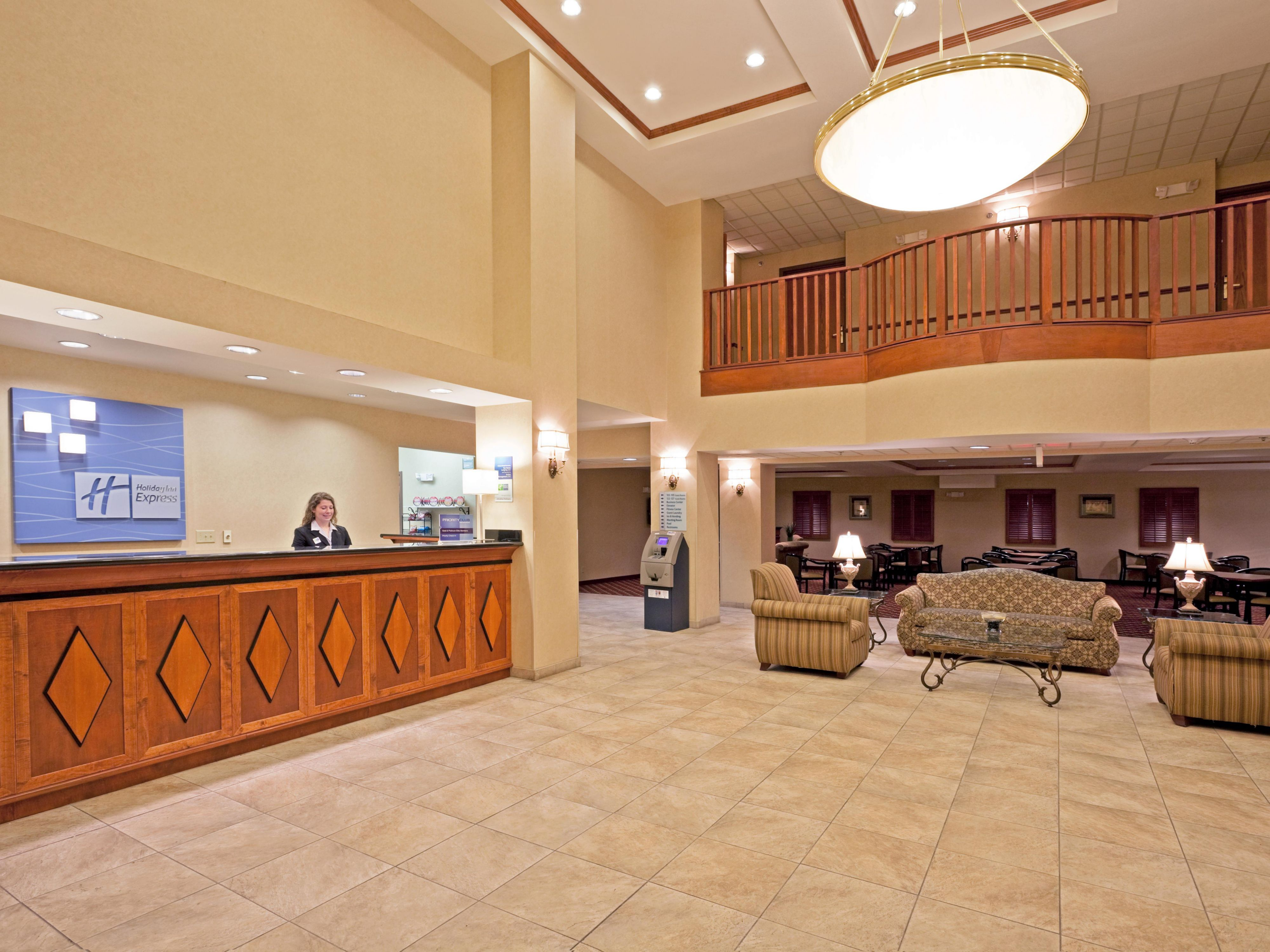 Our two story lobby provides the perfect gathering place