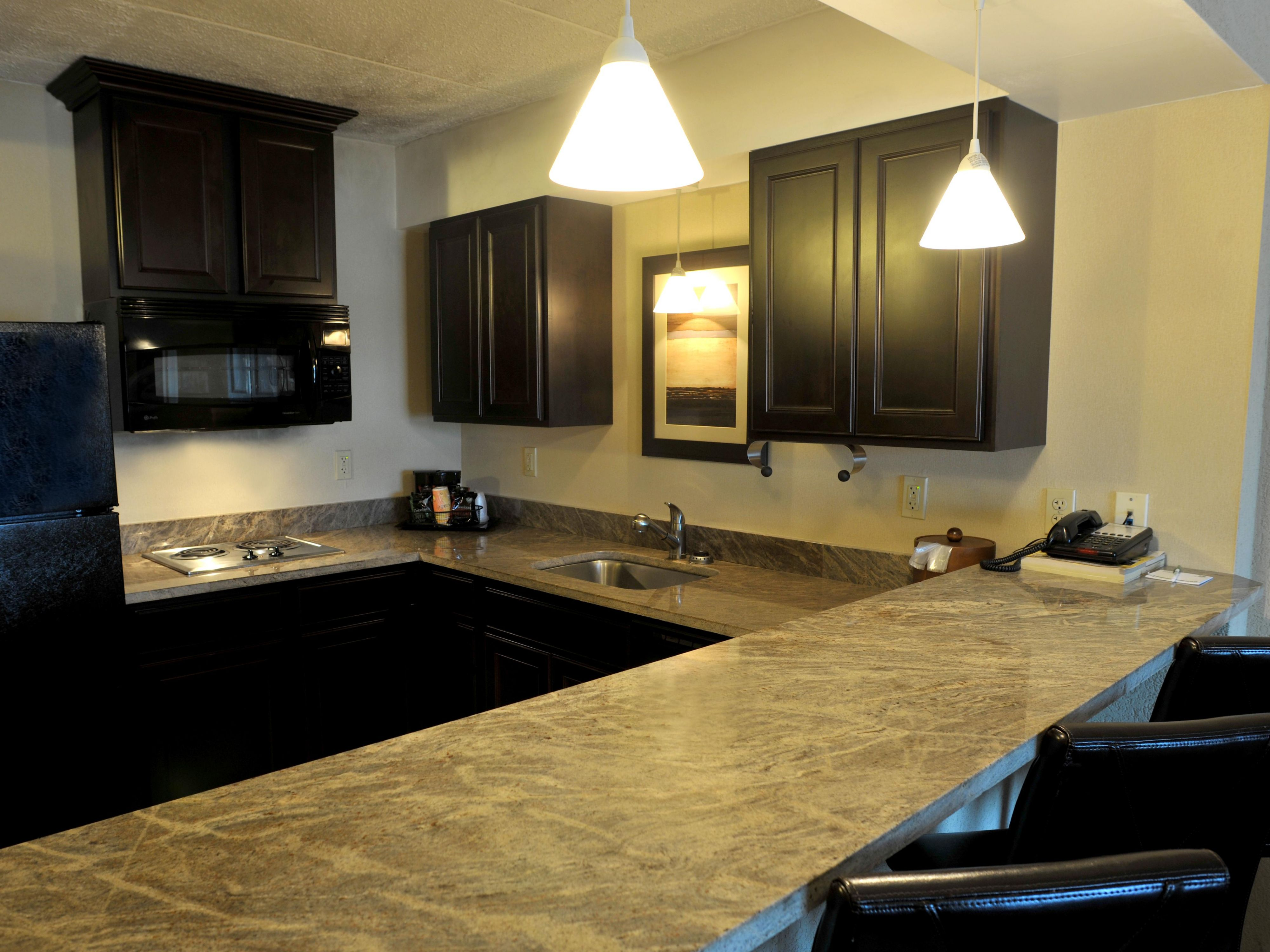 Suites have full kitchens available for guest use