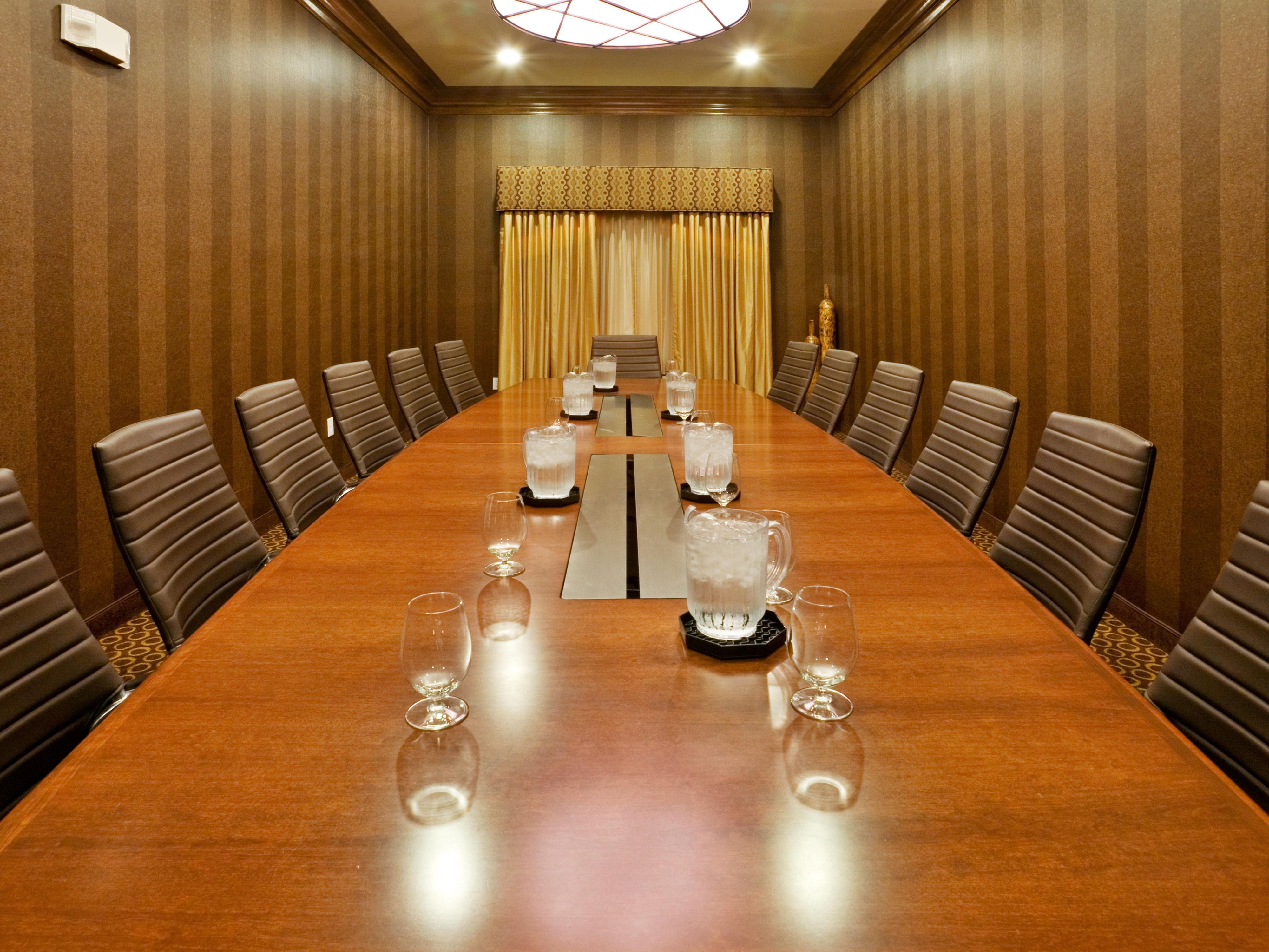 Boardroom is ideal for private meetings of up to 14.