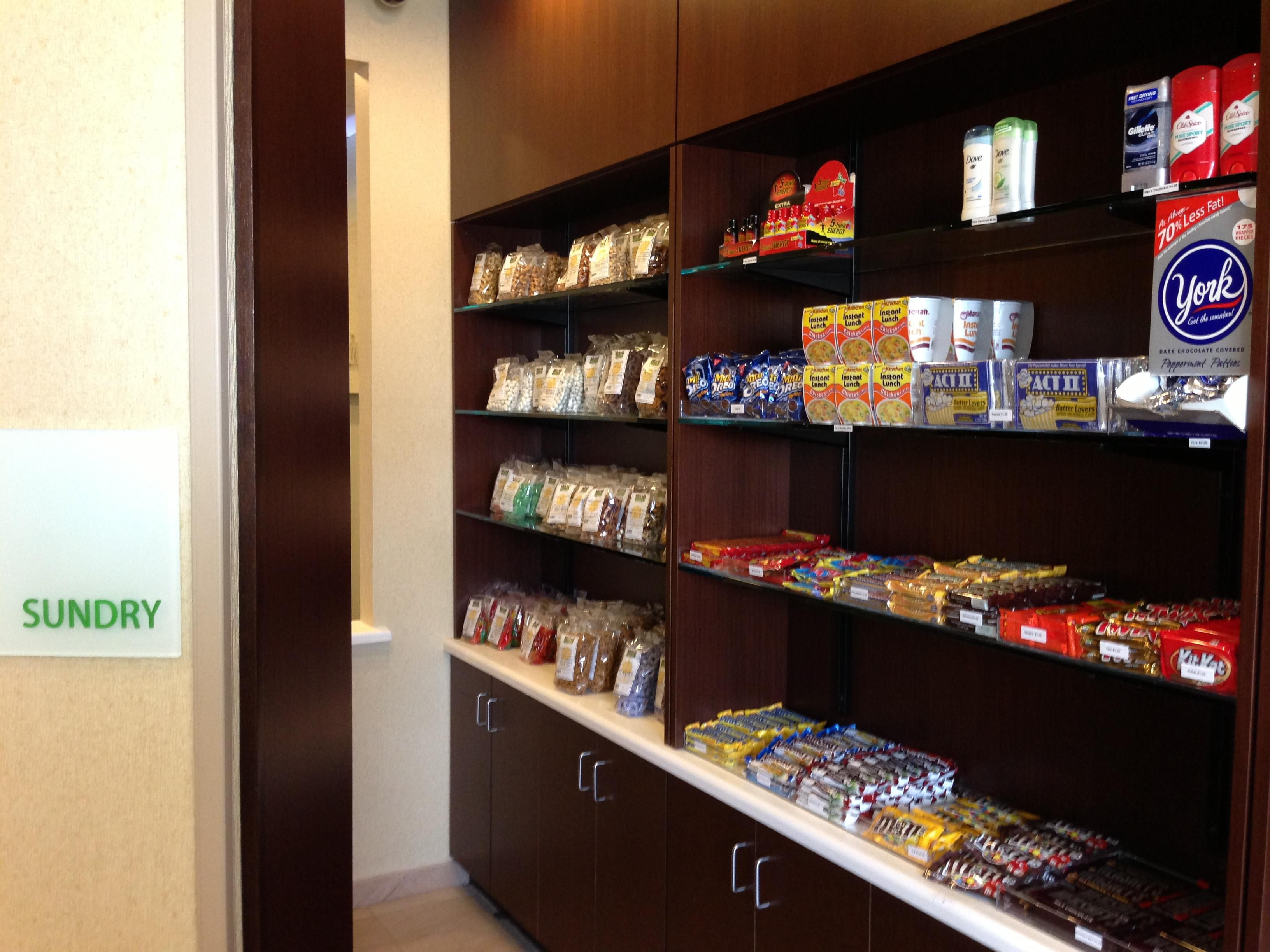 Our 24 hour Sundry is stocked with snacks and personal care items!