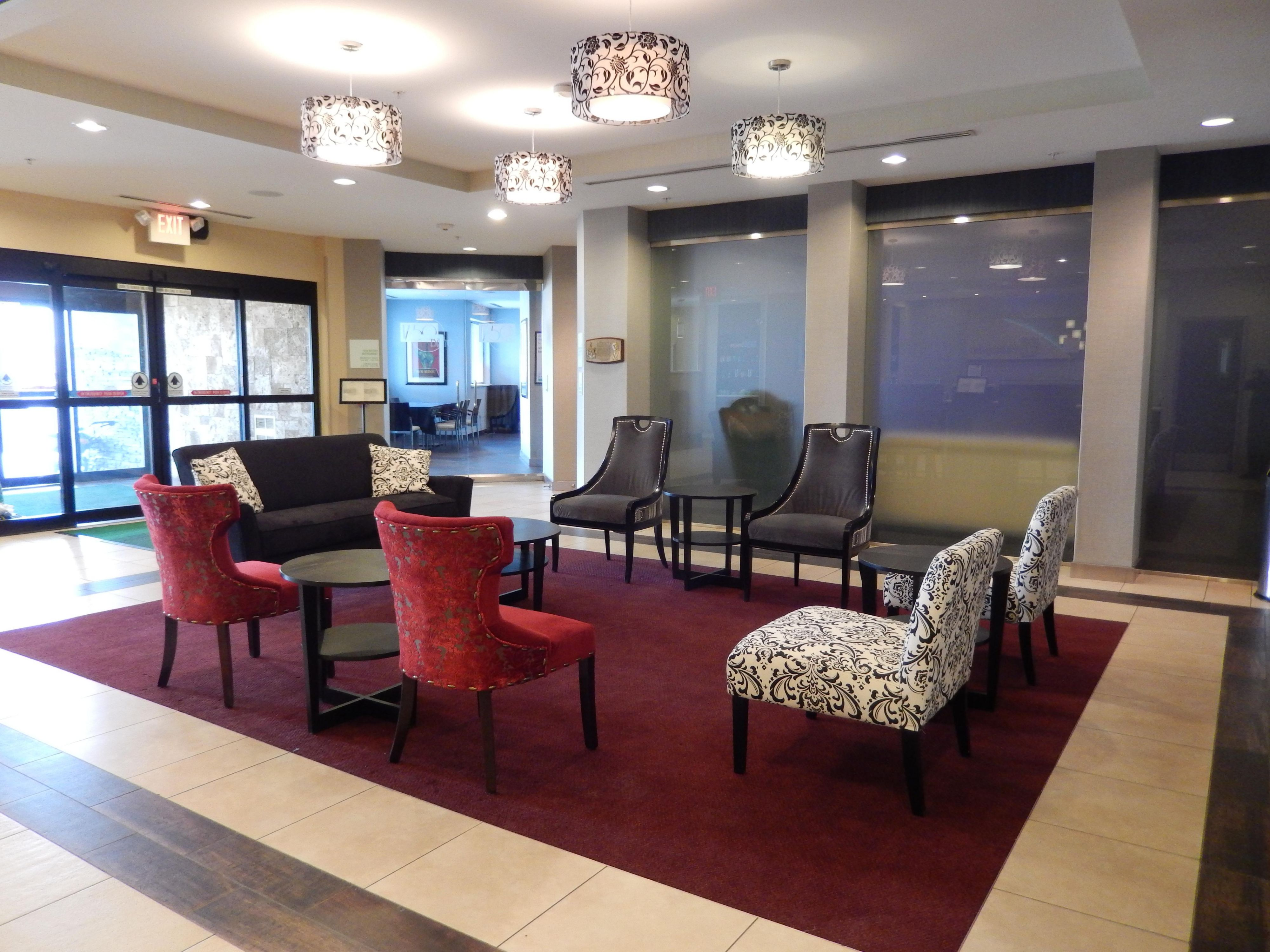 Enjoy modern seating in our lobby with a cup of coffee on us!