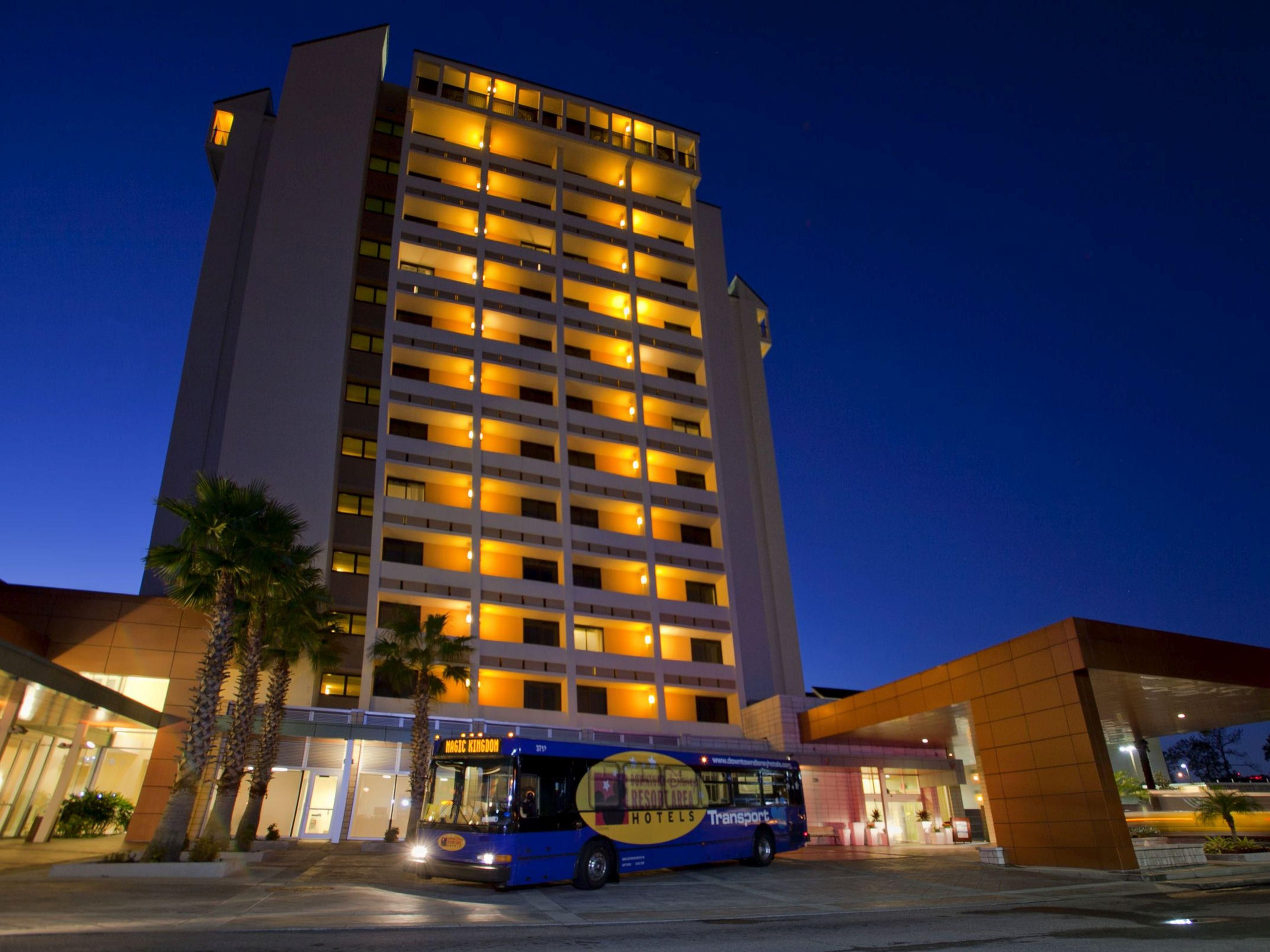 Theme park shuttles leave the hotel every 30 minutes