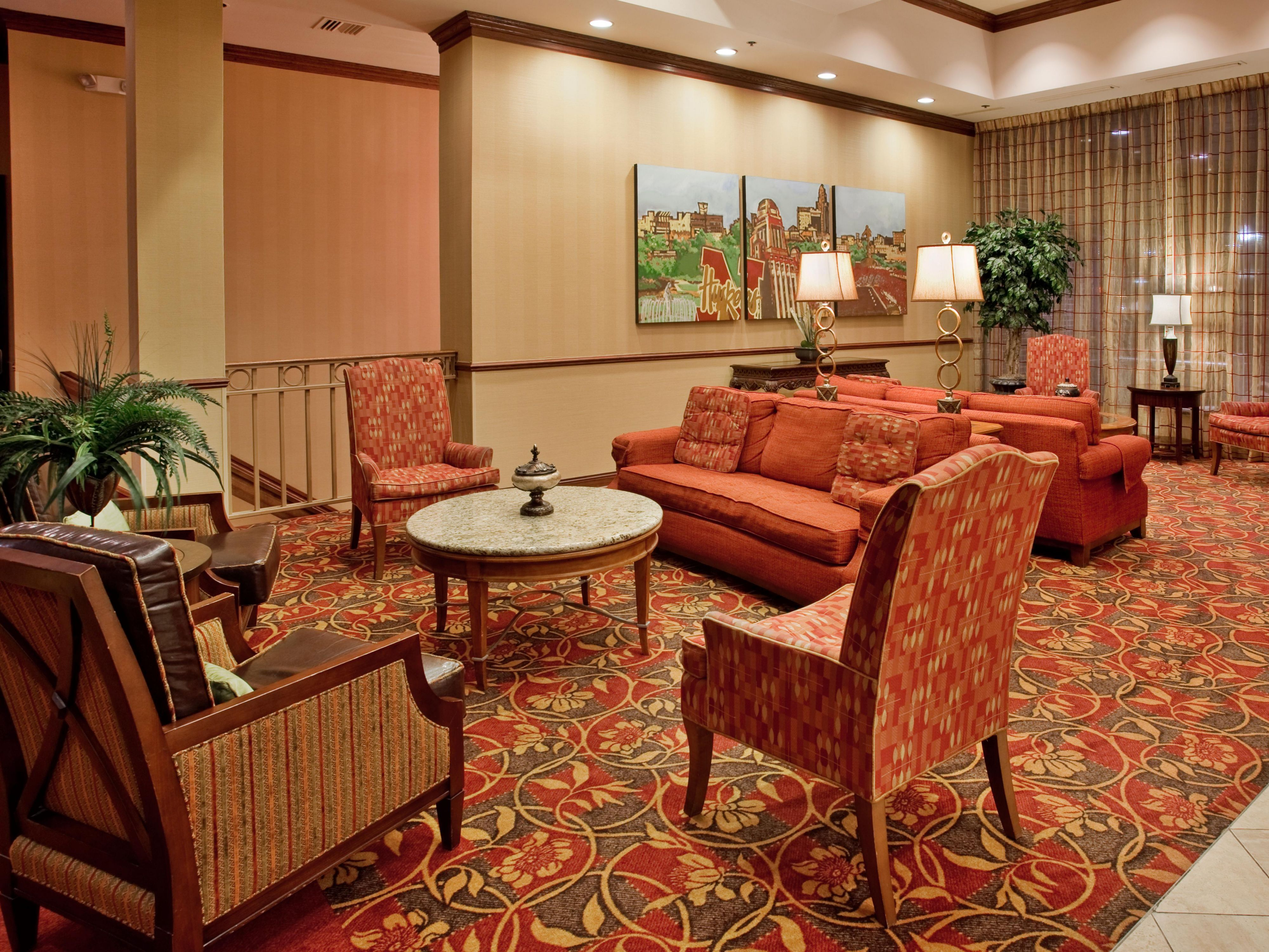Newly renovated lobby lounge with comfortable seating