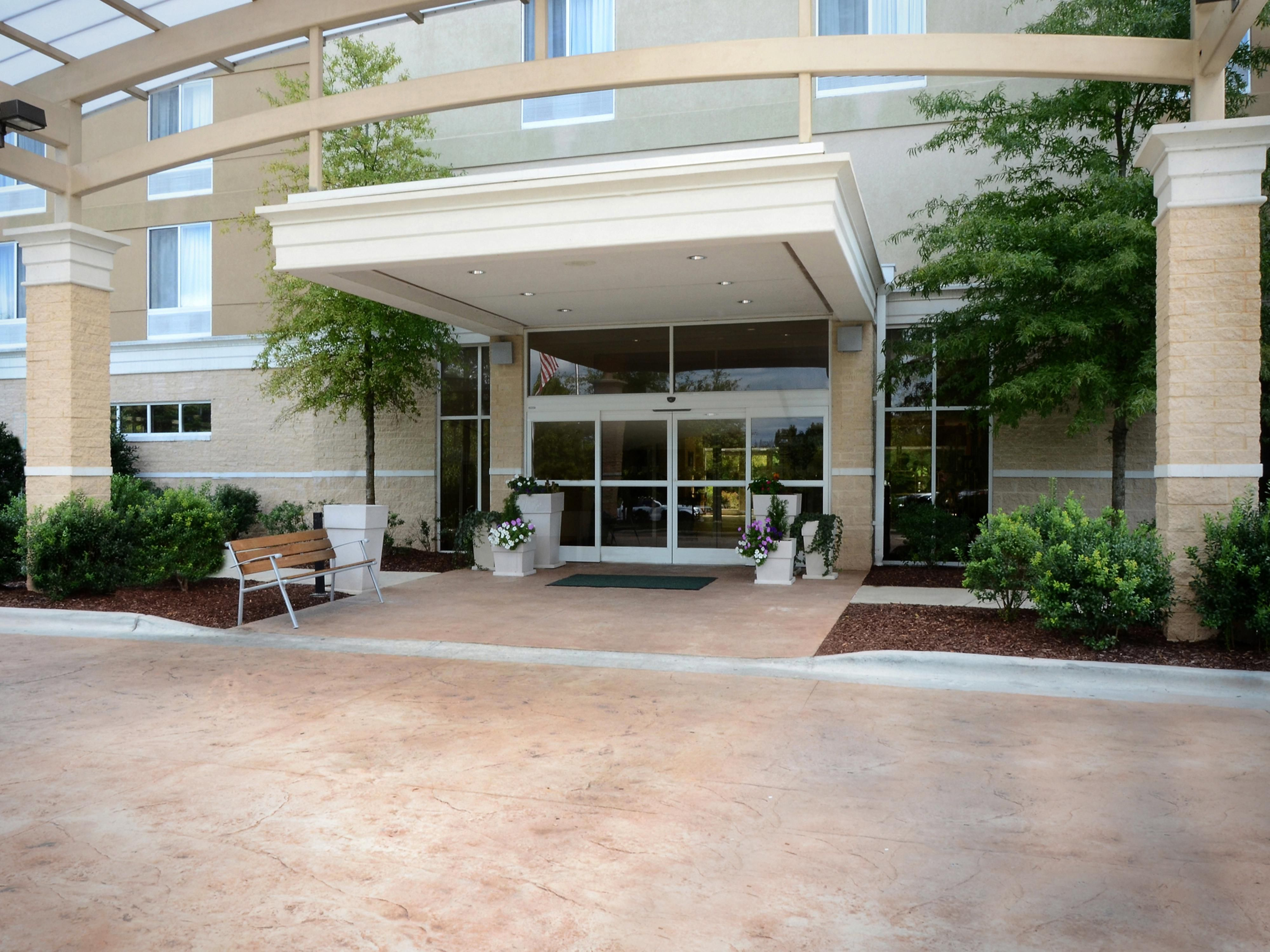 Our hotel's main entrance is an oasis for weary RDU travelers.