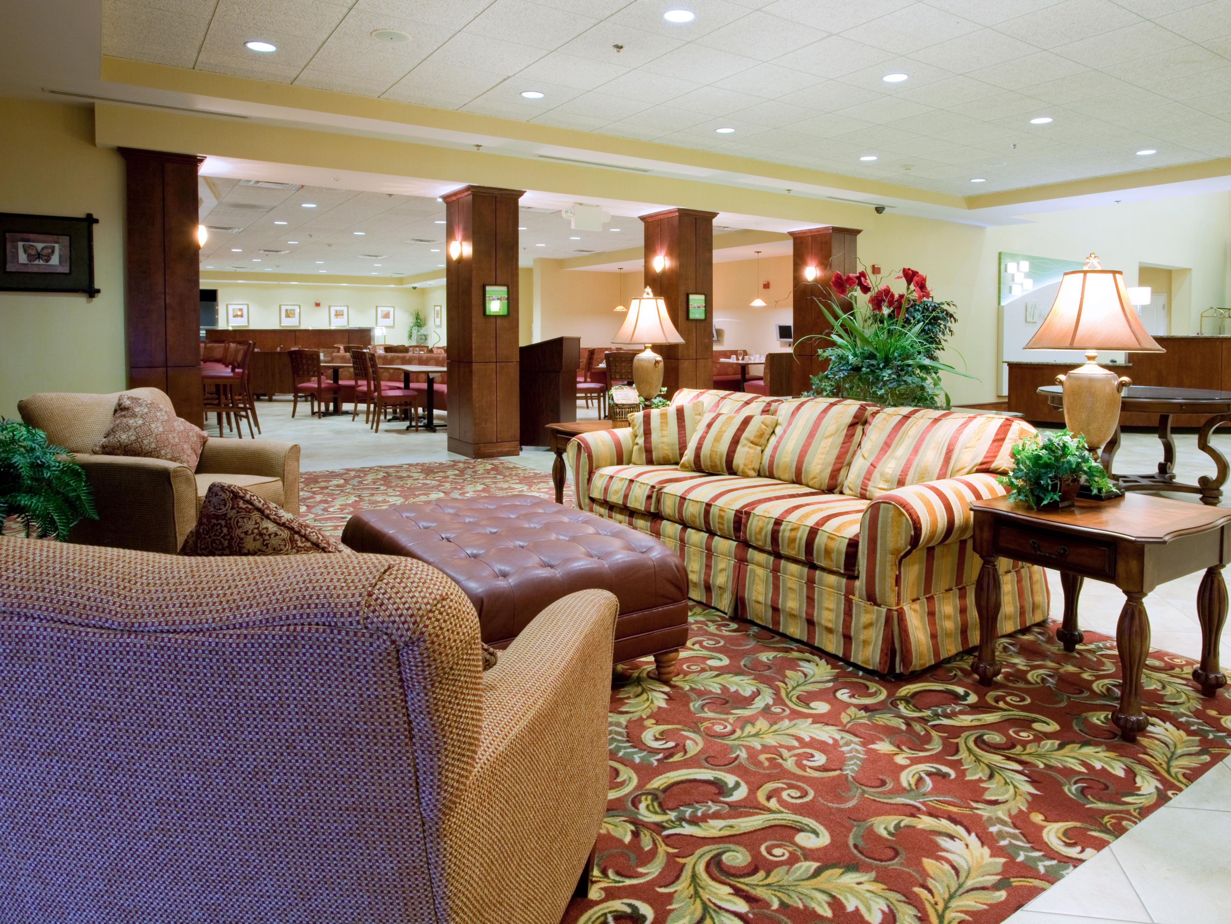 Our elegant lobby is the perfect place to relax with other guests.