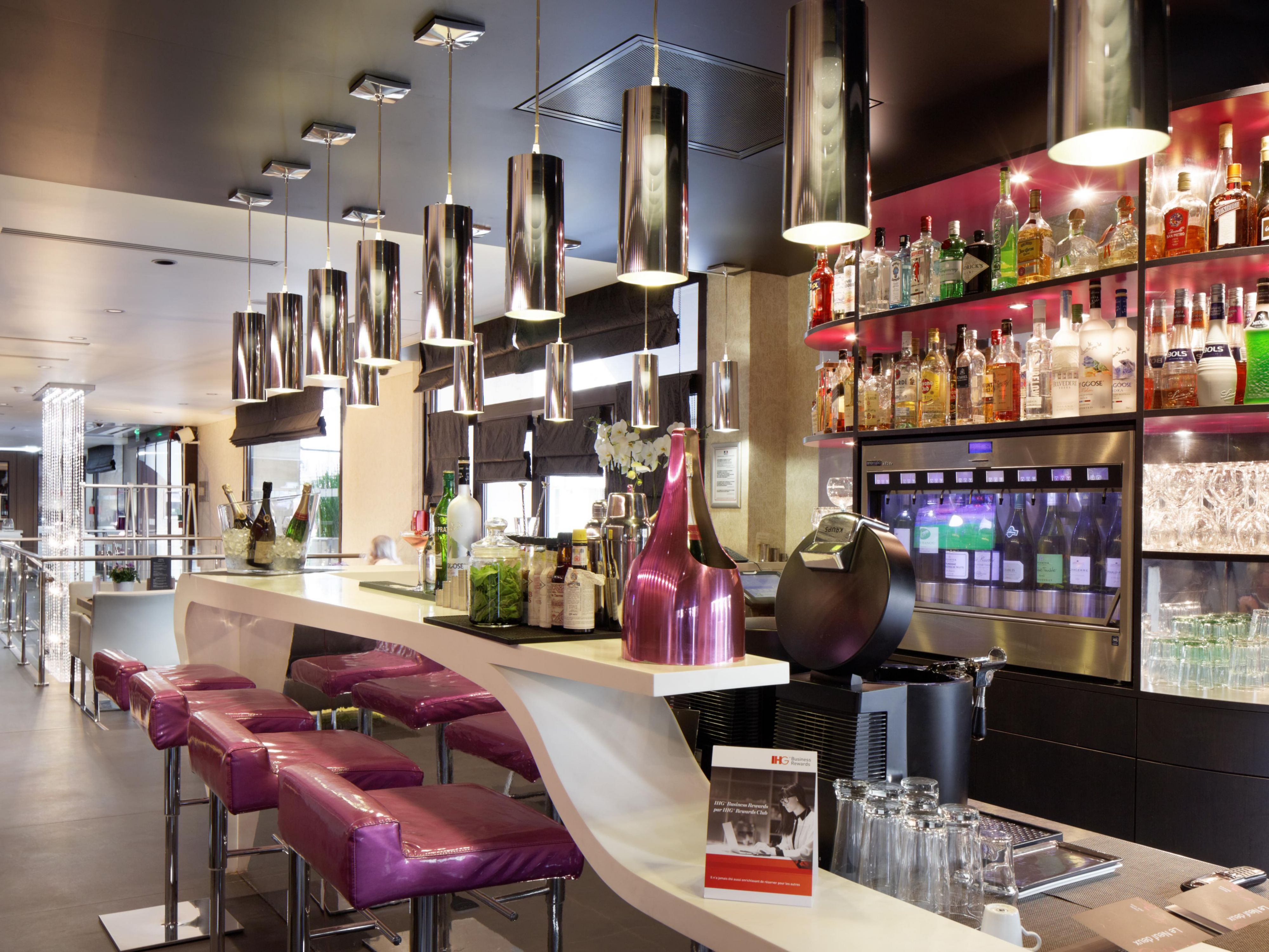 Enjoy Cocktails, french Wines or Champagne in our Bar Le Neuf Deux