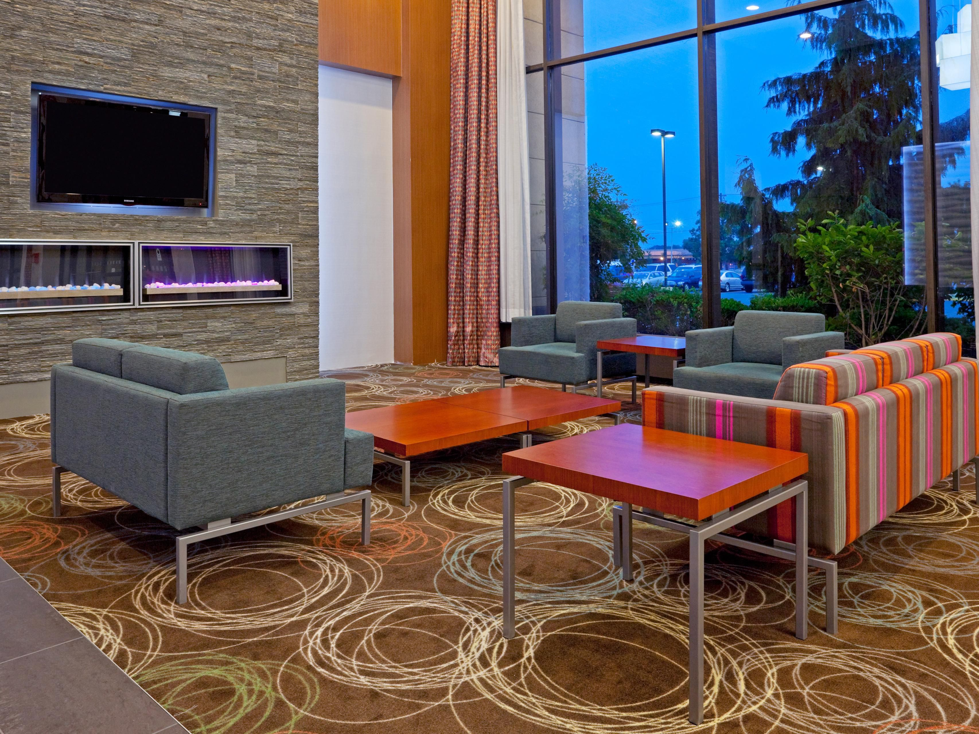 Relax in the Hotel Lobby by the Fire Place at Holiday Inn Stadium