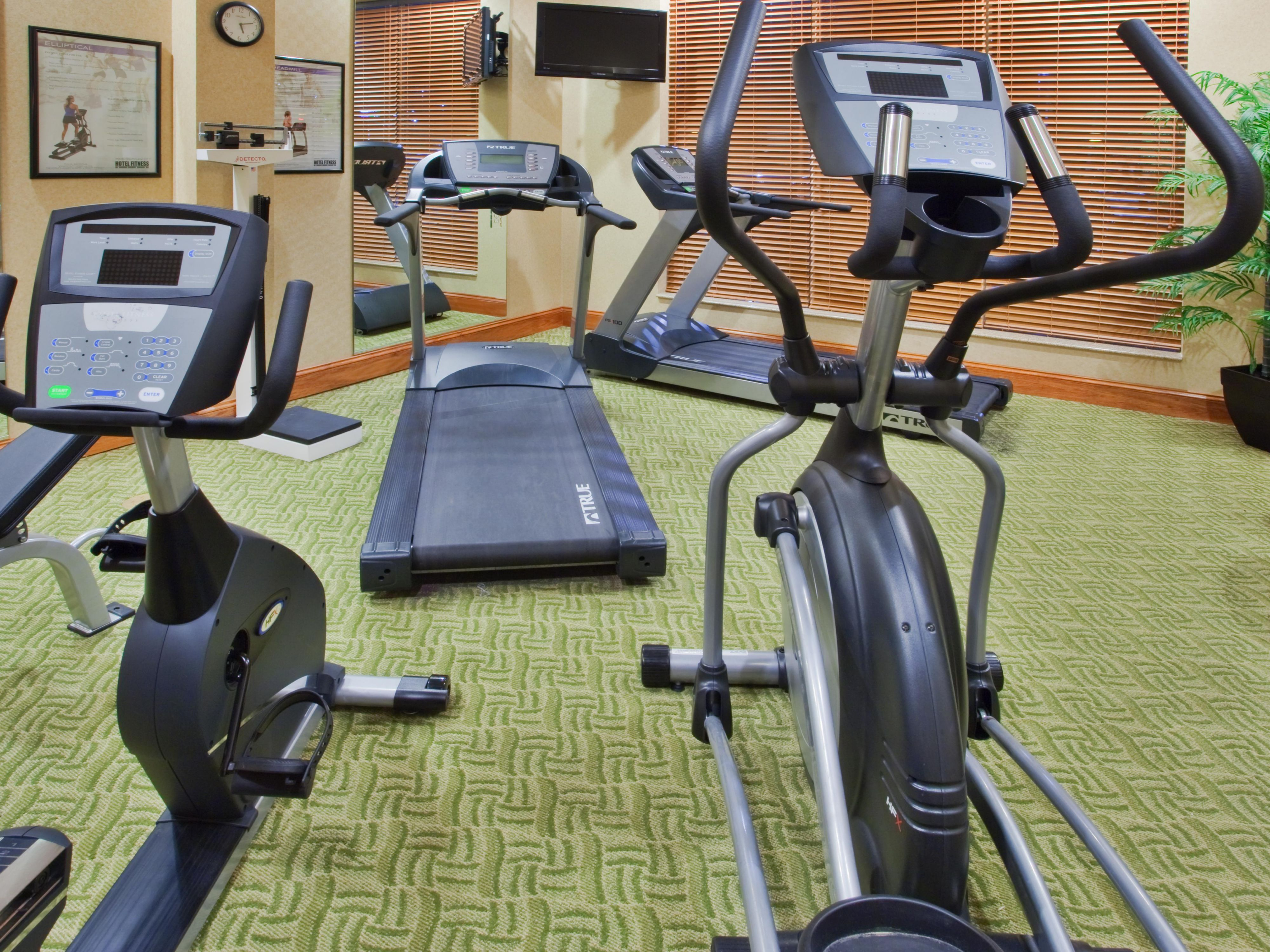 Use our fitness center to keep up with your workout schedule