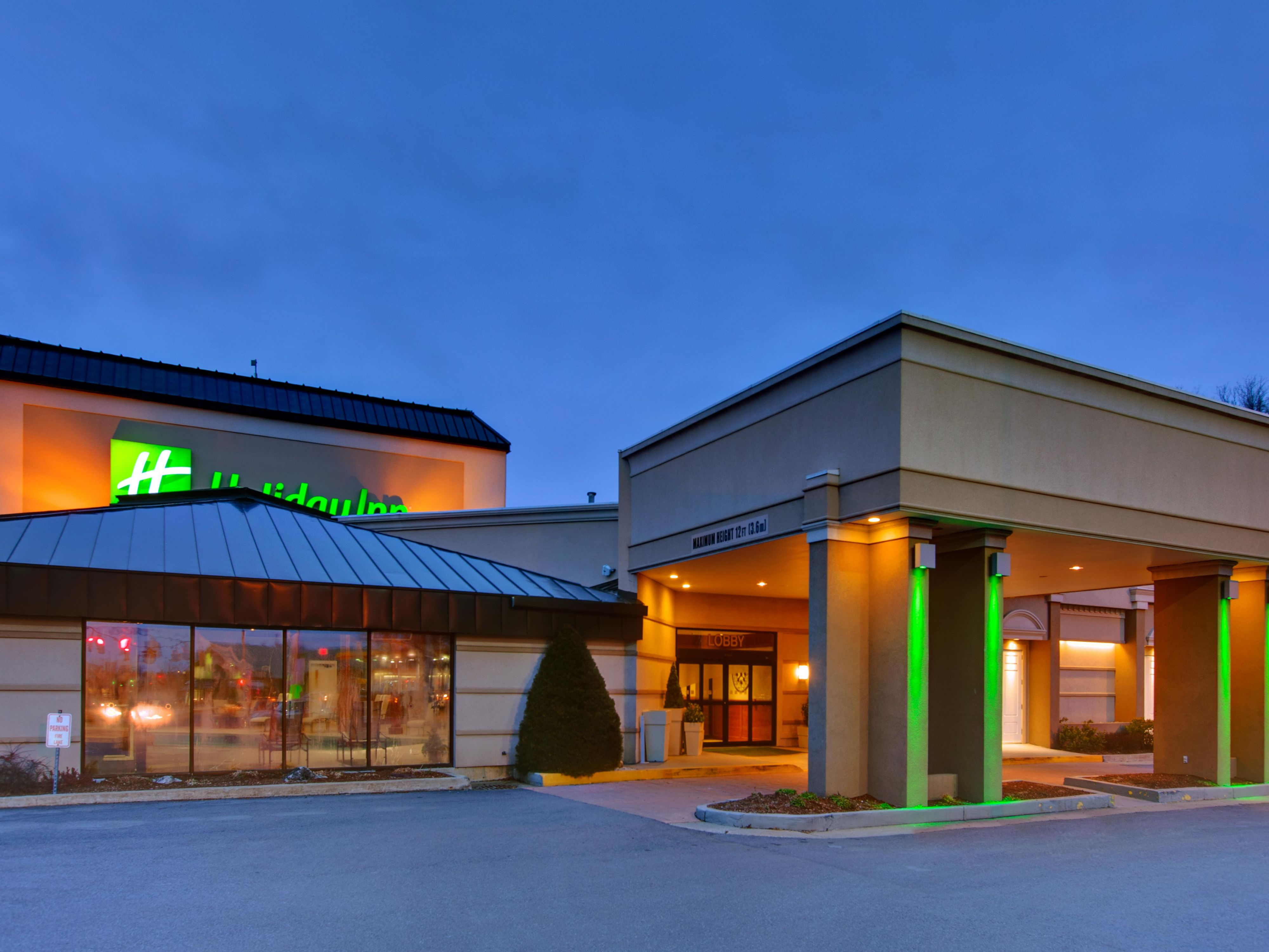 Welcoming, well lite exterior at the Holiday Inn