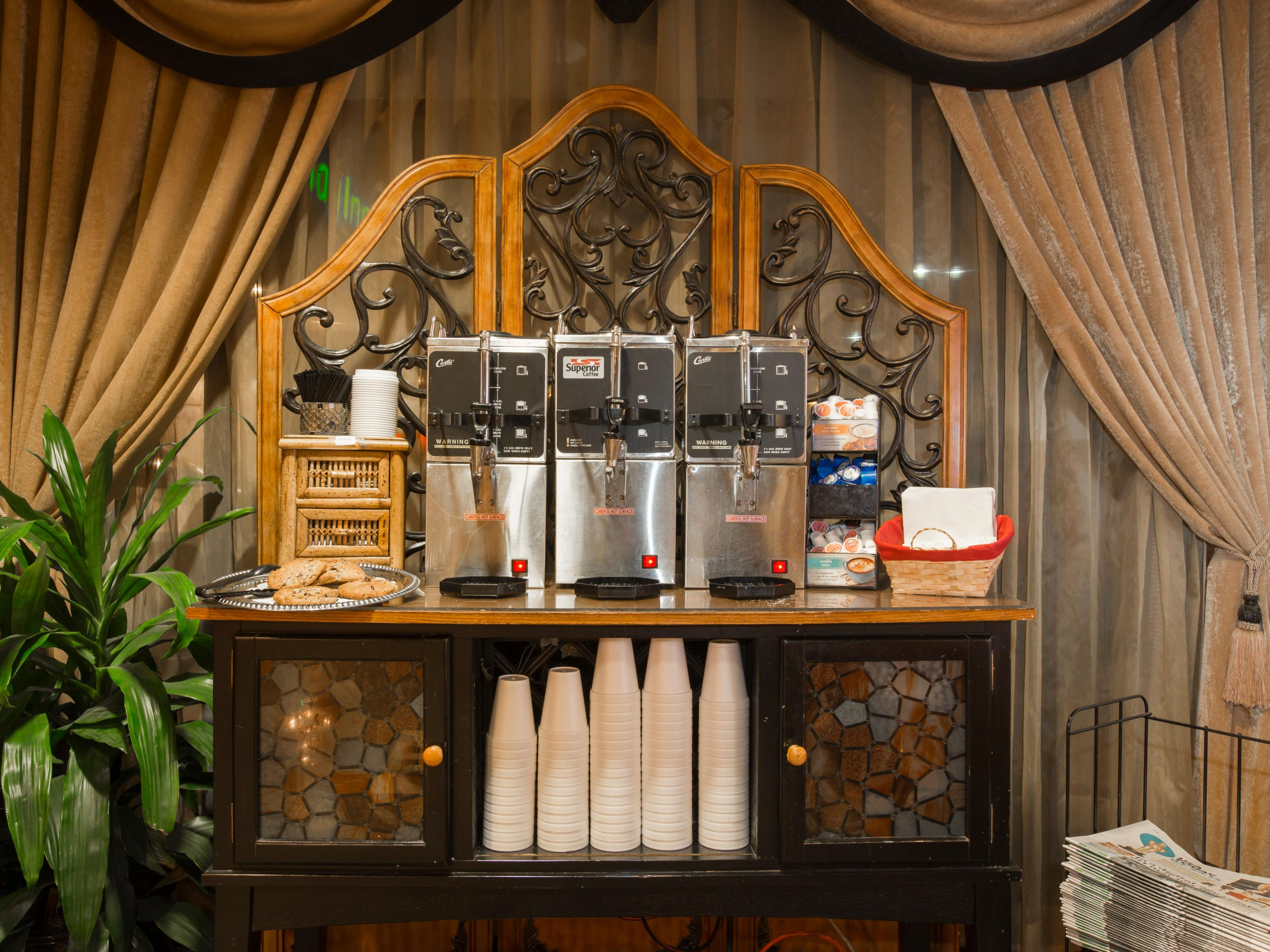 Free regular coffee and hot tea in the Lobby 24 hours.
